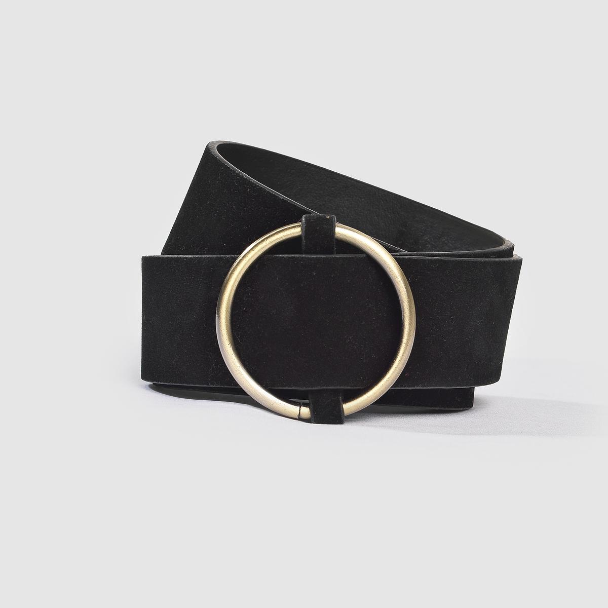 Ремень в винтажном стиле с круглой пряжкой