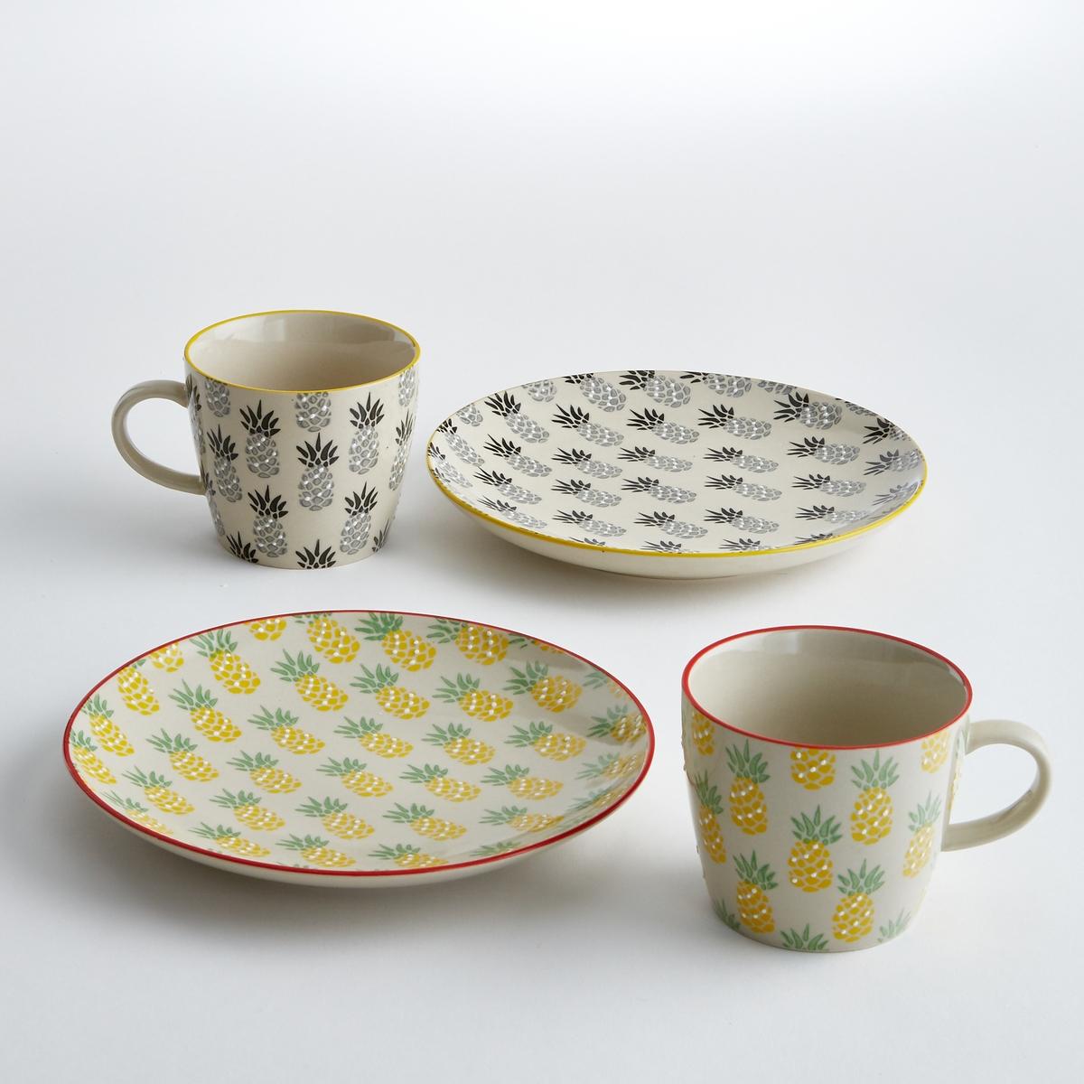 4 чашки из керамики TossitaКлассическая форма, графический экзотический рисунок : чашки Tossita добавят Вашей кухне освежающие тропические нотки.Характеристики 4 чашек из керамики Tossita :Рисунок ананас.Комплект из 4 чашек состоит из 2 чашек с рисунком ананас черного и серого цвета + 2 тарелки с рисунком зеленого и желтого цвета  Размеры 4 чашек из керамики Tossita :Диаметр. 9,5 x высота 8 см.Другие чашки и наши коллекции предметов декора стола вы можете найти на сайте laredoute.ru<br><br>Цвет: набивной рисунок