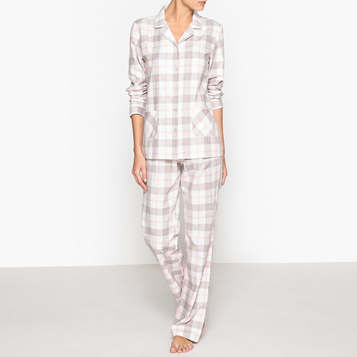 Пижама с рубашкойПижама в винтажном стиле: удобная и красивая благодаря блестящим нитям, создает эффект кокона. Состав и описаниеПижама в винтажном стиле с накладными карманами спереди. Прямой покрой, эластичный пояс.Материал : 99% хлопка, 1% других волоконРазмеры : Рубашка : 67 см.Длина по внутр.шву : 76 смУход :  Стирать с вещами схожих цветов..Стирать и гладить с изнаночной стороны<br><br>Цвет: розовый