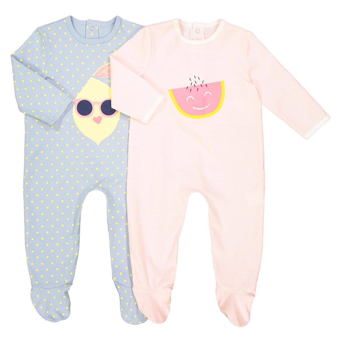 Confezione da 2 pigiama in cotone da 0 mesi a 3 anni