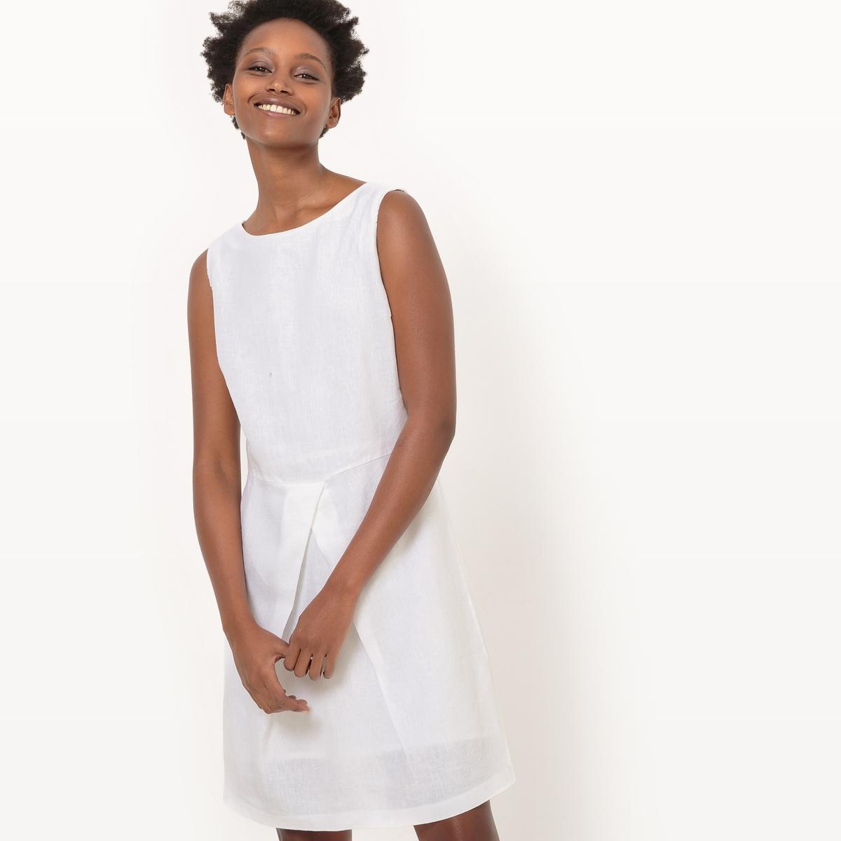 Платье без рукавов из льнаМатериал : 100% лен      Подкладка : 100% хлопок      Длина рукава : без рукавов       Форма воротника : круглый вырез      Покрой платья : расклешенное платье      Рисунок : однотонная модель        Длина платья : 91 см<br><br>Цвет: белый,синий королевский,черный<br>Размер: 50 (FR) - 56 (RUS).48 (FR) - 54 (RUS).46 (FR) - 52 (RUS).40 (FR) - 46 (RUS).36 (FR) - 42 (RUS).46 (FR) - 52 (RUS).38 (FR) - 44 (RUS).34 (FR) - 40 (RUS).46 (FR) - 52 (RUS).48 (FR) - 54 (RUS).40 (FR) - 46 (RUS).38 (FR) - 44 (RUS)
