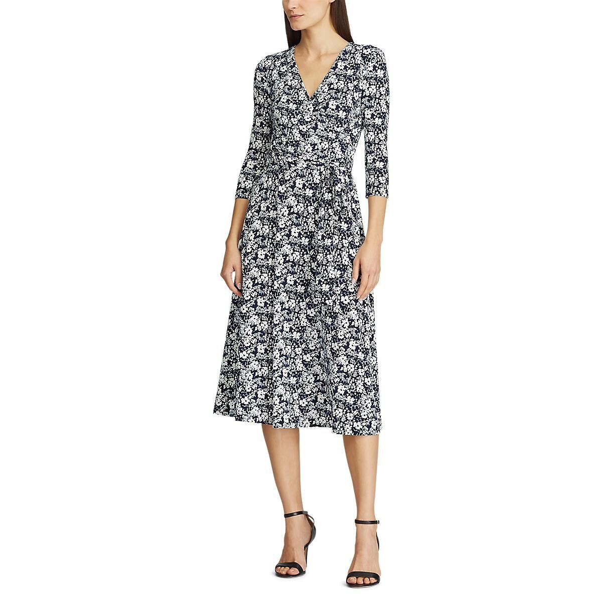 Платье La Redoute С цветочным узором с V-образным перекрестным вырезом 40 (FR) - 46 (RUS) синий складной нож realsteel sidus free сталь d2 g10