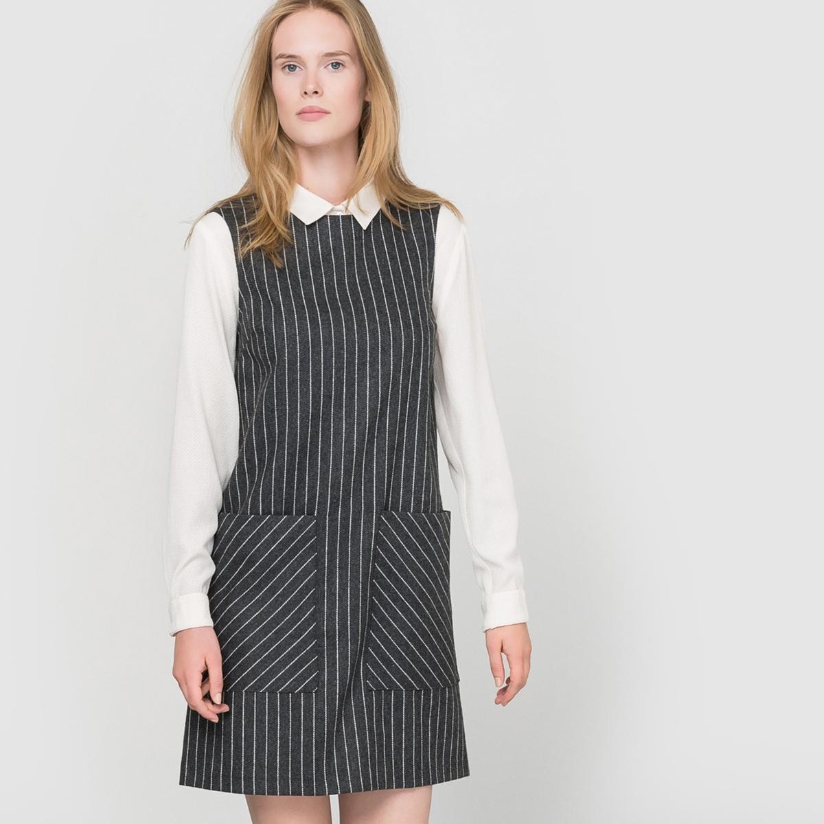 Платье без рукавов, сделано во ФранцииПлатье без рукавов, сделано во Франции. Гарантия высокого качества !Фланель в полоску. Круглый вырез. 2 накладных кармана спереди. Молния сзади.Состав и описание :   Материал :  40% полиэстера, 30% шерсти, 25% акрила, 5% других волоконДлина : 90 смСпецифическая особенность : Сделано во ФранцииМарка : R EssentielУход :Машинная стирка при 30 °C с вещами схожих цветовМашинная сушка в умеренном режимеГладить при низкой температуре.<br><br>Цвет: серый в полоску