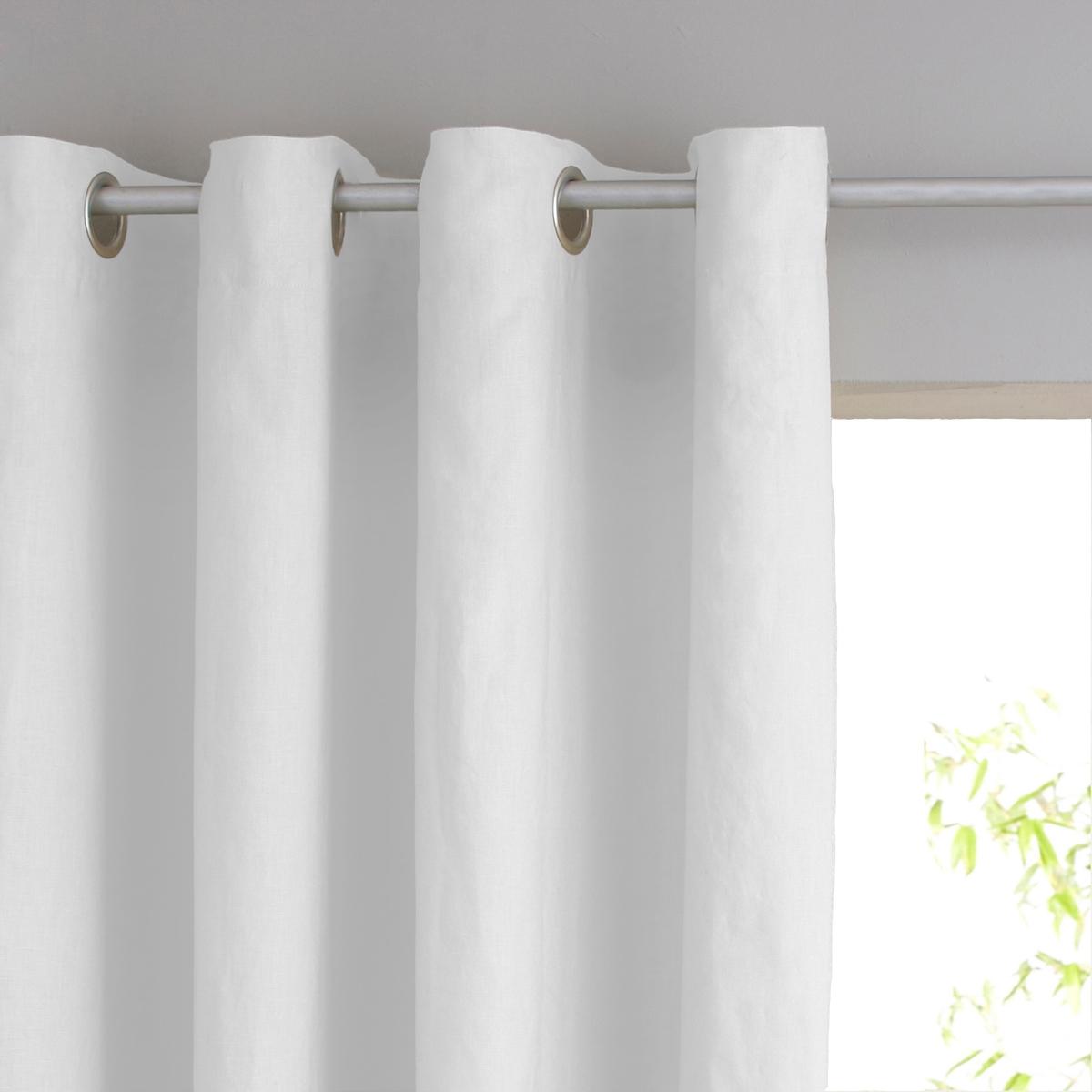 Штора из стираного льна на подкладке, с люверсами, Private римская штора tanaro quelle my home 736242 в ш ок 140 140 см