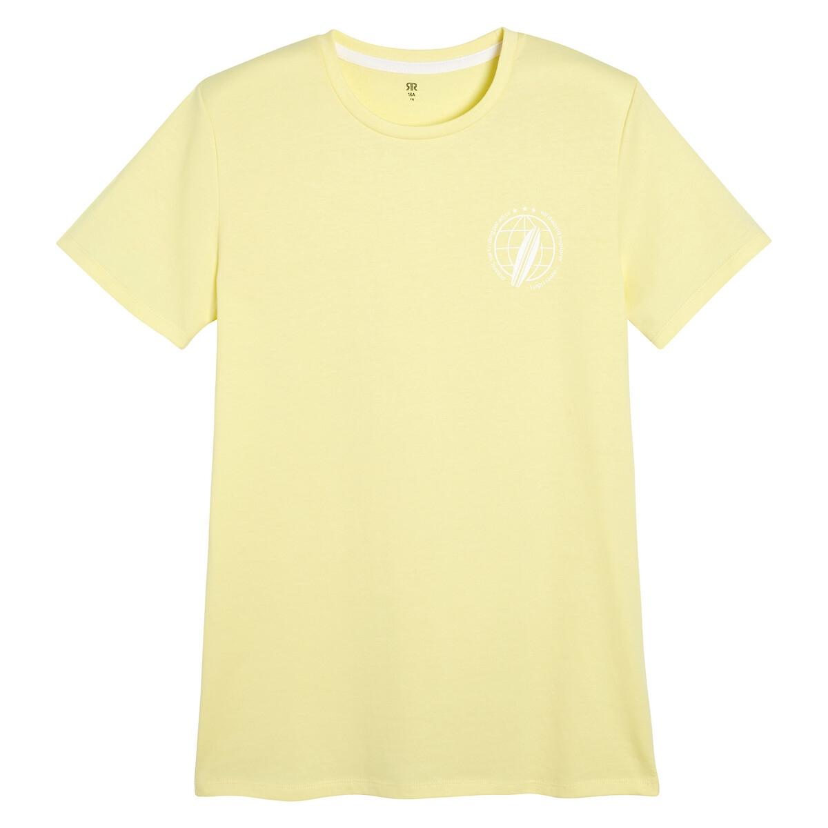 Футболка La Redoute С круглым вырезом и надписью сзади 16 лет - 174 см желтый футболка la redoute с круглым вырезом и принтом спереди 3 года 94 см серый