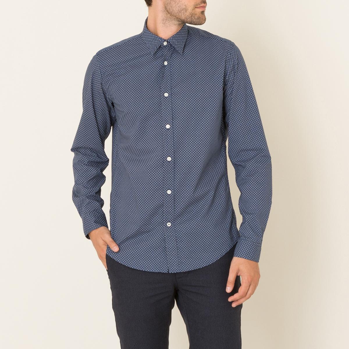 Рубашка SAMMYРубашка HARTFORD, модель SAMMY. Покрой Slim Fit. Классический воротник. Длинные рукава с застежкой на пуговицы. Сплошной цветочный микроузор. Состав и описание    Материал : 100% хлопокМарка : HARTFORD<br><br>Цвет: темно-синий