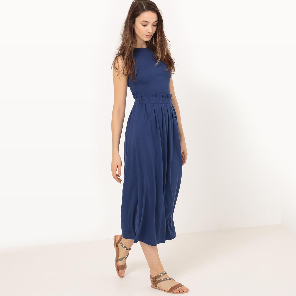 Платье длинное из трикотажа, однотонное