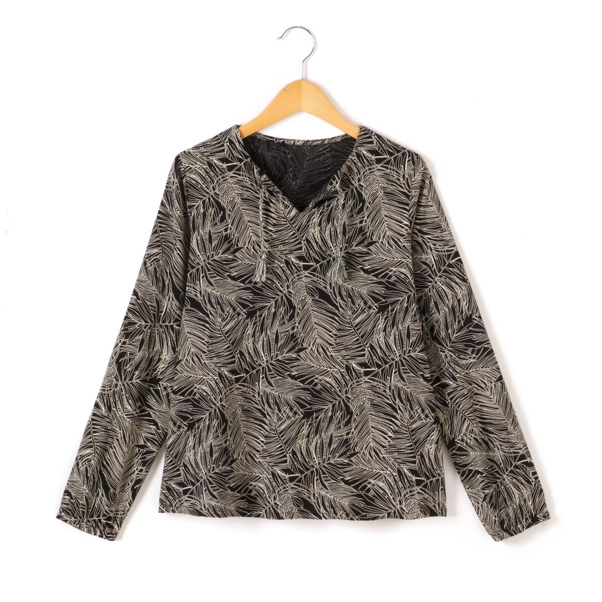 Блузка с рисунком листва и длинными рукавами 10-16 лет
