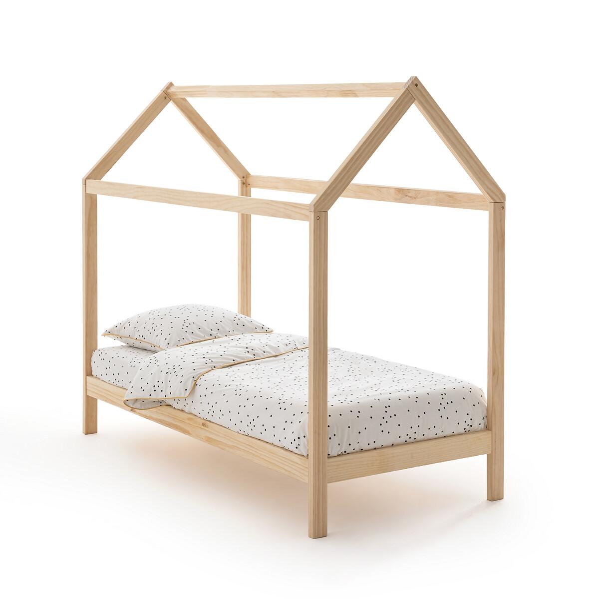Кровать-шатер LaRedoute Из массива сосны Archi 90 x 190 см каштановый