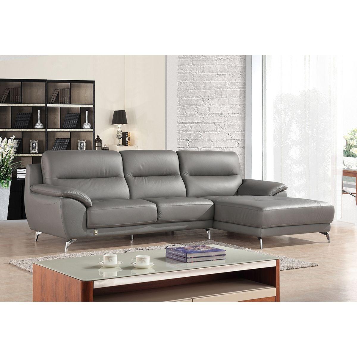Canapé droit en cuir gris EDONIA Souris - Droit
