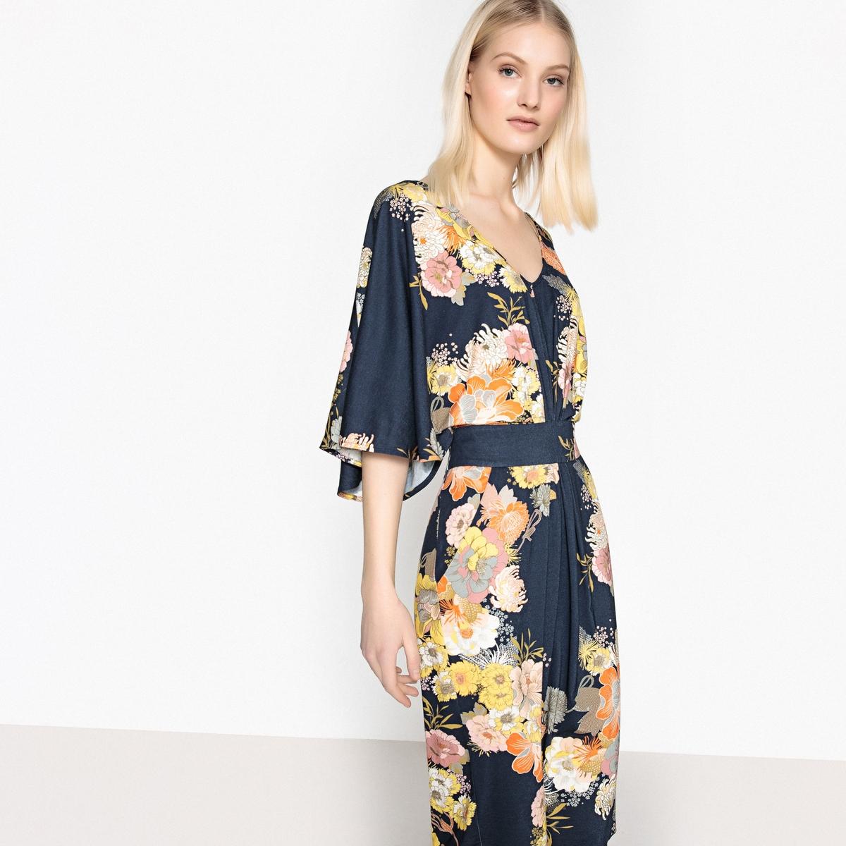 Платье с цветочным рисунком  рукавами-кимоно