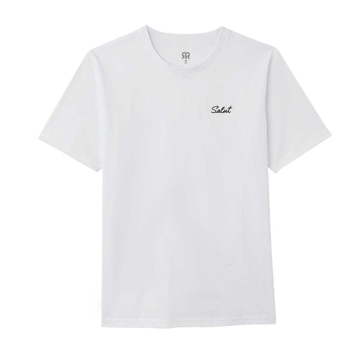 Футболка La Redoute С круглым вырезом и вышитой надписью на груди S белый футболка la redoute jorquote с забавной надписью s синий