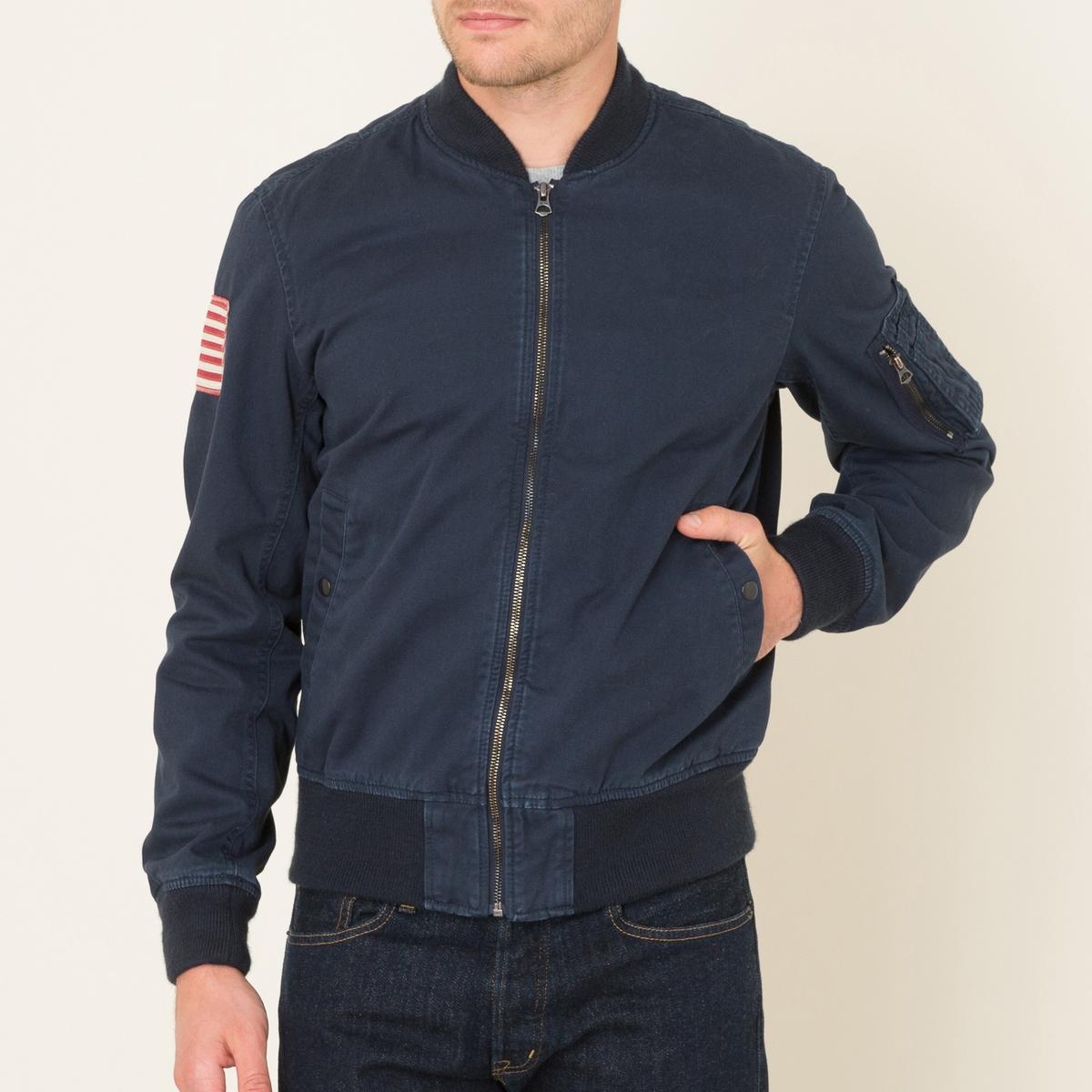 Куртка на молнииСостав и описание Материал : 100% хлопокПодкладка рукавов 100% полиэстерМарка : Denim and Supply Ralph Lauren<br><br>Цвет: темно-синий<br>Размер: L