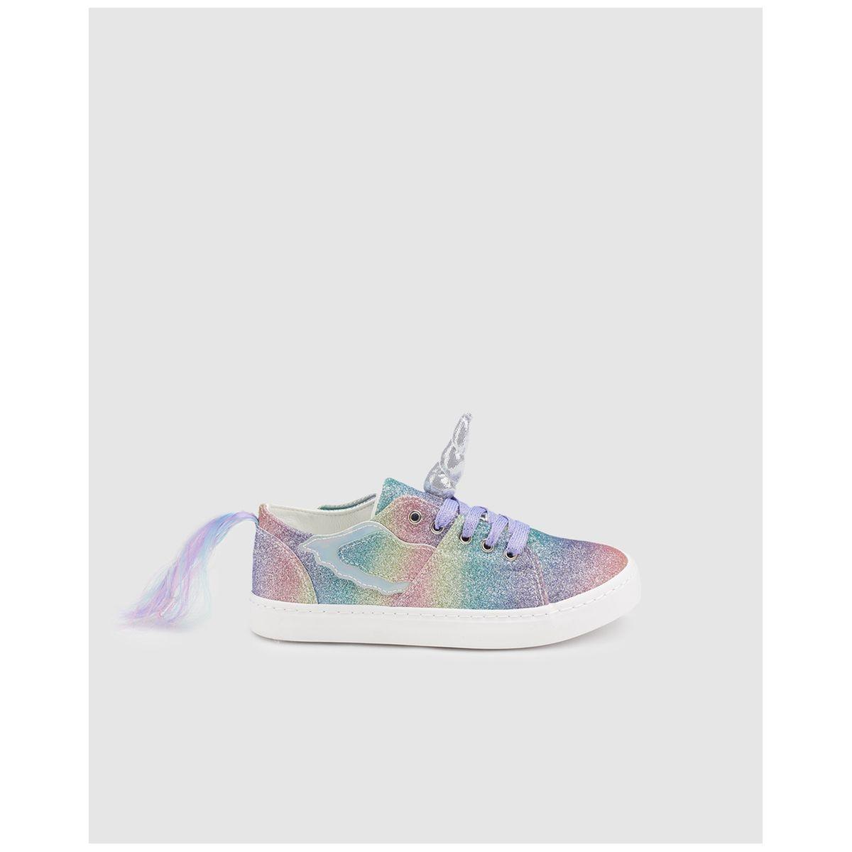Chaussures sport  glitter à détails licorne