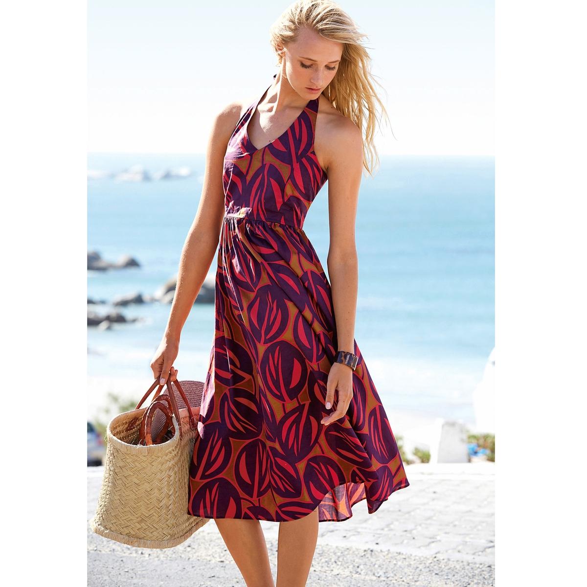 Платье с открытой спинойПлатье с рисунком. С открытой спиной и завязками вокруг шеи. 100% хлопка. V-образный вырез. Вытачки на груди, отрезное по талии. Мелкие складки сзади. Длина ок. 110 см.<br><br>Цвет: набивной рисунок<br>Размер: 34 (FR) - 40 (RUS)