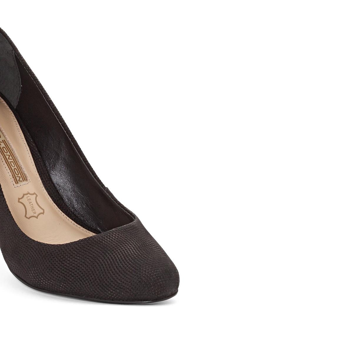 Туфли на каблуке, ZS6061Верх/Союзка: Кожа.   Подкладка: Кожа.    Подошва: Синтетический материал.                 Высота каблука: 7 см.   Форма каблука: Широкая.  Мысок: Круглый.   Застежка: Без застежки.<br><br>Цвет: черный<br>Размер: 39