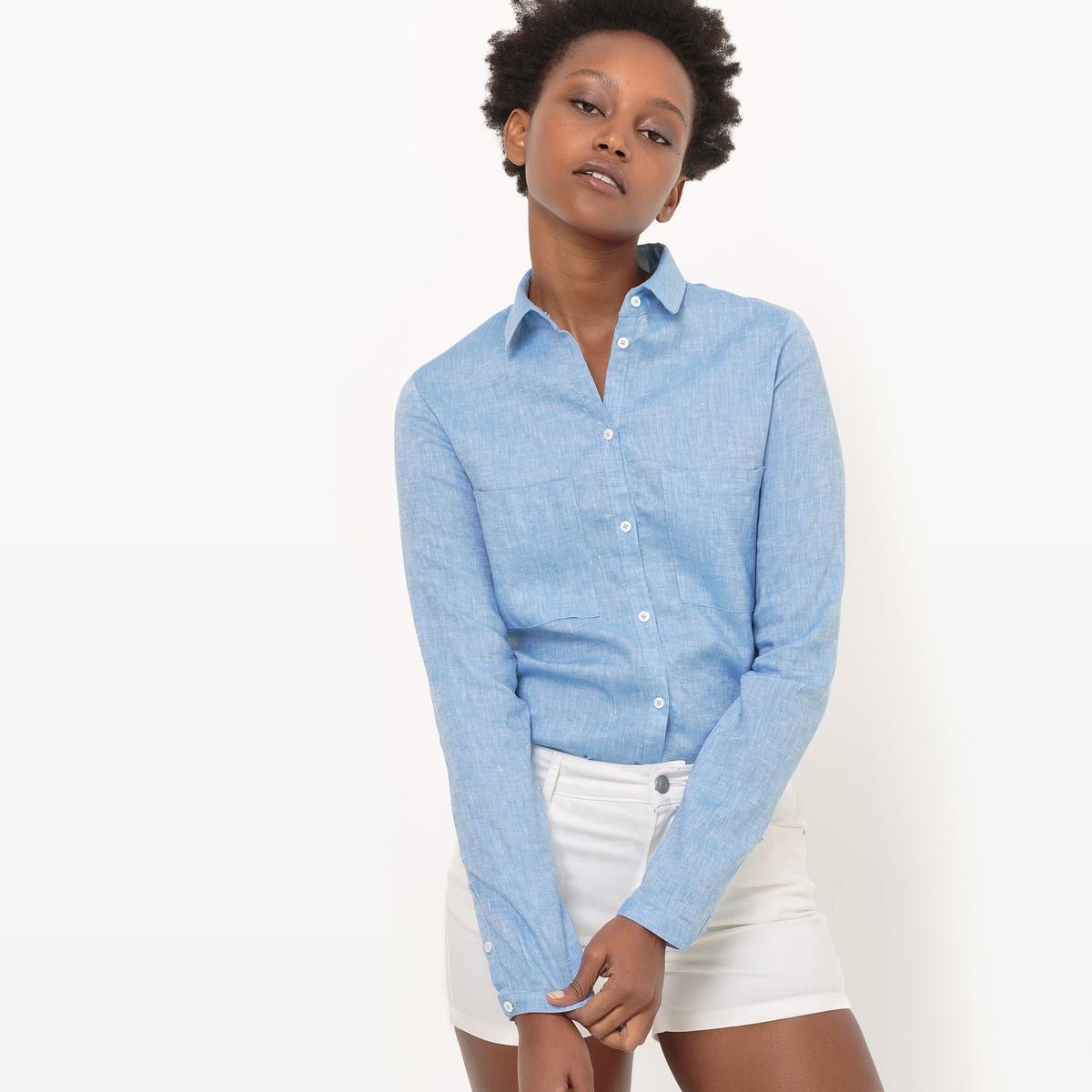 Рубашка с 2 карманами из льнаДетали  •  Длинные рукава •  Прямой покрой  •  Воротник-поло, рубашечный  Состав и уход •  100% лен  •  Температура стирки 30°   •  Сухая чистка и отбеливание запрещены   •  Не использовать барабанную сушку  • Высокая температура глажки<br><br>Цвет: голубой меланж,мандариновый<br>Размер: 38 (FR) - 44 (RUS).38 (FR) - 44 (RUS)