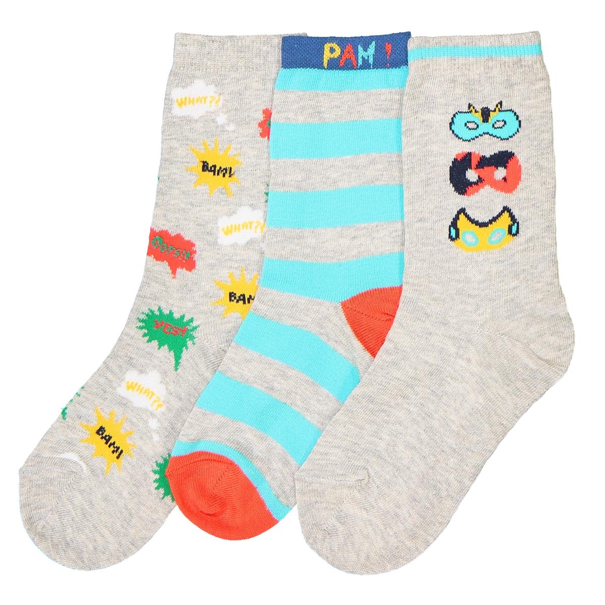 Носки средней длины, оригинальные, комплект из 3 парОписание:Комплект из 3 пар цветных и весёлых носков средней длины : рисунок маски, рисунок кляксы и 1 пара носков в полоску, прекрасно подходят для детей!Состав и описание :Комплект из 3 пар носков средней длины: 1 пара в разноцветную полосу, 1 пара с рисунком кляксы,  1 пара с рисунком маски героевСостав: Носки маски: 68% хлопка - 31% полиамида - 1% эластанаНоски в полоску: 76% хлопка - 23% полиамида - 1% эластана Другие цвета : 59% хлопка - 40% полиамида - 1% эластанаУход :Машинная стирка при  30°C с вещами подобных цветов.Стирать, сушить и гладить с изнаночной стороны.Машинная сушка в умеренном режиме..Гладить при умеренной температуре.<br><br>Цвет: рисунок разноцветный<br>Размер: 35/38.27/30