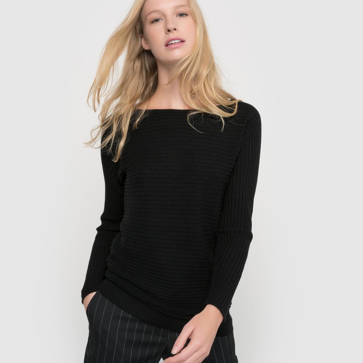 Jersey de pura lana merina, de canalé