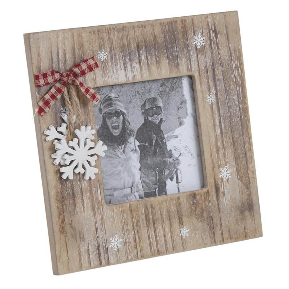 Cadre photo en bois Chalet en hiver