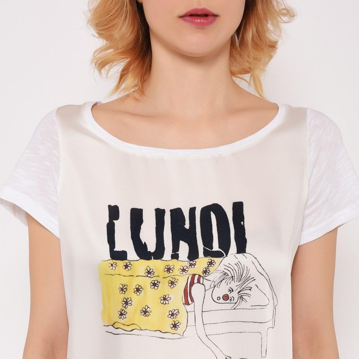 T-shirt col rond imprimé LUNDI