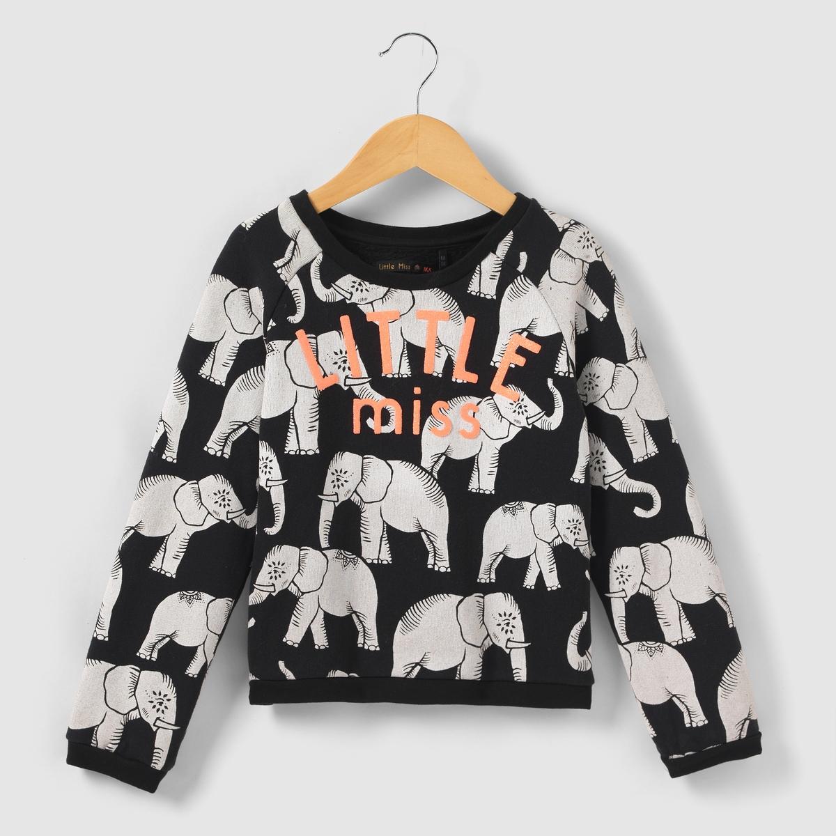 Свитшот с рисунком слонята, 3-14 летСвитшот с длинными рукавами и рисунком слонята белого цвета. Ворсистая надпись с пайетками LITTLE miss спереди. Свободный круглый вырез. Края связаны в мелкий рубчик.Состав и описание : Материал       мольтон, 100% хлопокМарка       IKKS Junior  Уход :Машинная стирка при 30 °C с вещами схожих цветов.Стирать и гладить с изнаночной стороны.Машинная сушка в умеренном режиме.Гладить при умеренной температуре.<br><br>Цвет: черный наб. рисунок<br>Размер: 5 лет - 108 см