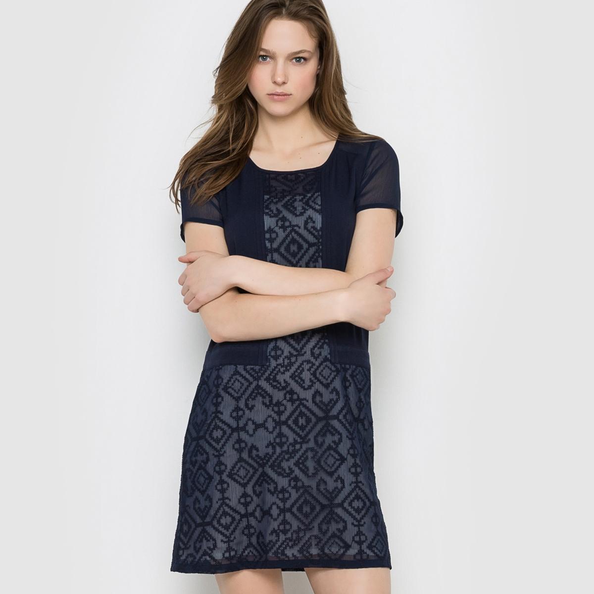Платье с короткими рукавами 2TWO JOSICСостав и описание :Материал : 100% вискозы. Подкладка из полиэстераМарка : 2TWO.<br><br>Цвет: темно-синий<br>Размер: 42 (FR) - 48 (RUS)