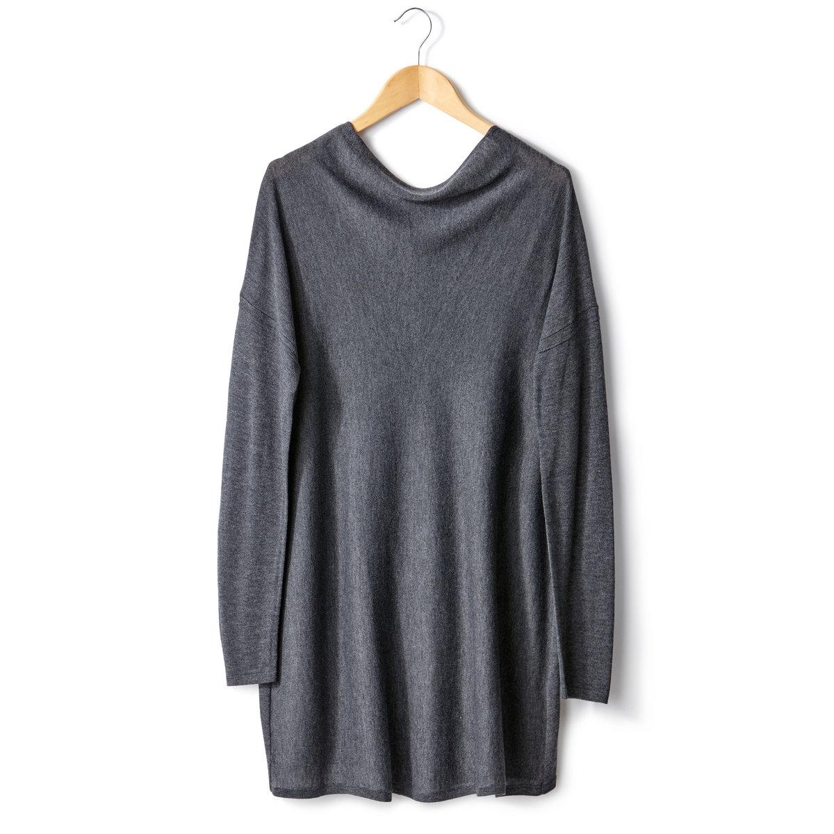 Пуловер с драпировкой на вырезеПуловер с драпировкой на вырезе. 50% вискозы, 40% акрила, 10% мериносовой шерсти. Длинные рукава. Края связаны в рубчик. Застежка на молнию на плече. Длина 70 см.<br><br>Цвет: антрацит,розовый,темно-оранжевый,черный<br>Размер: 46/48 (FR) - 52/54 (RUS).46/48 (FR) - 52/54 (RUS).50/52 (FR) - 56/58 (RUS).50/52 (FR) - 56/58 (RUS).50/52 (FR) - 56/58 (RUS)