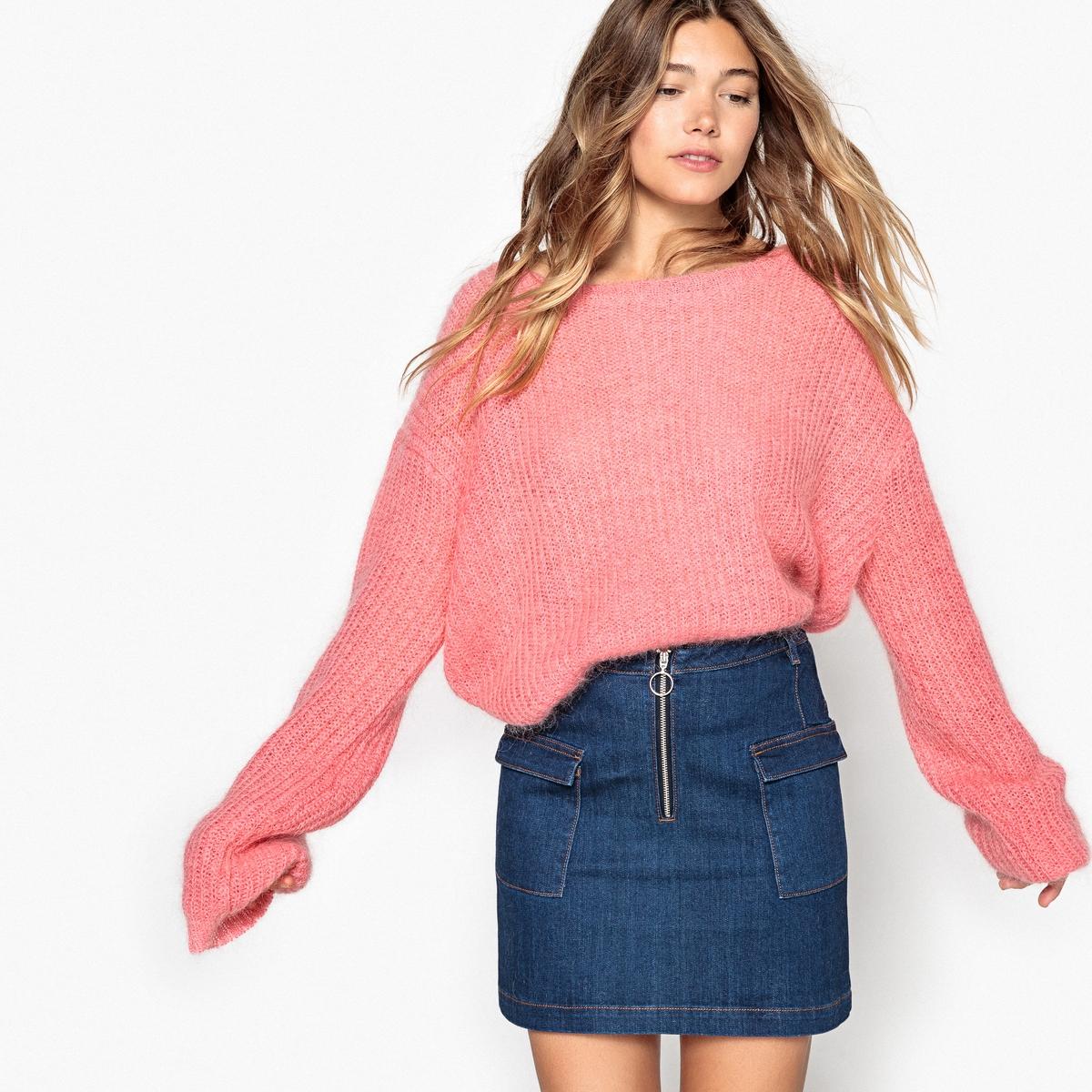 Пуловер La Redoute Покроя оверсайз L розовый бушлат длинный покроя оверсайз