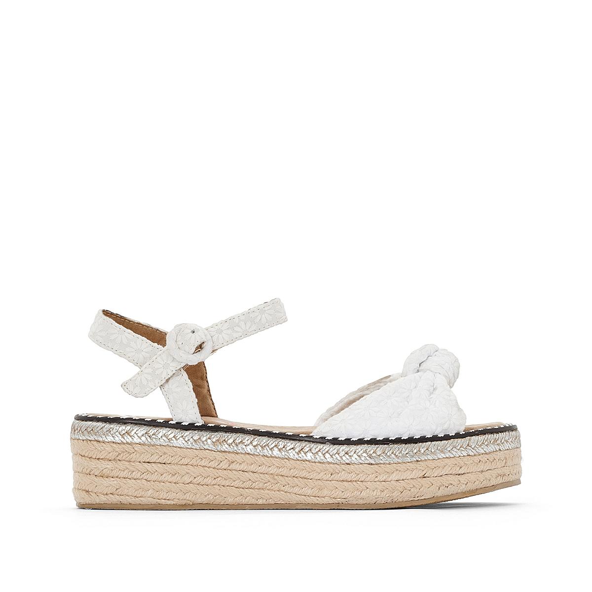 Sandálias em tecido com plataforma, Parrot