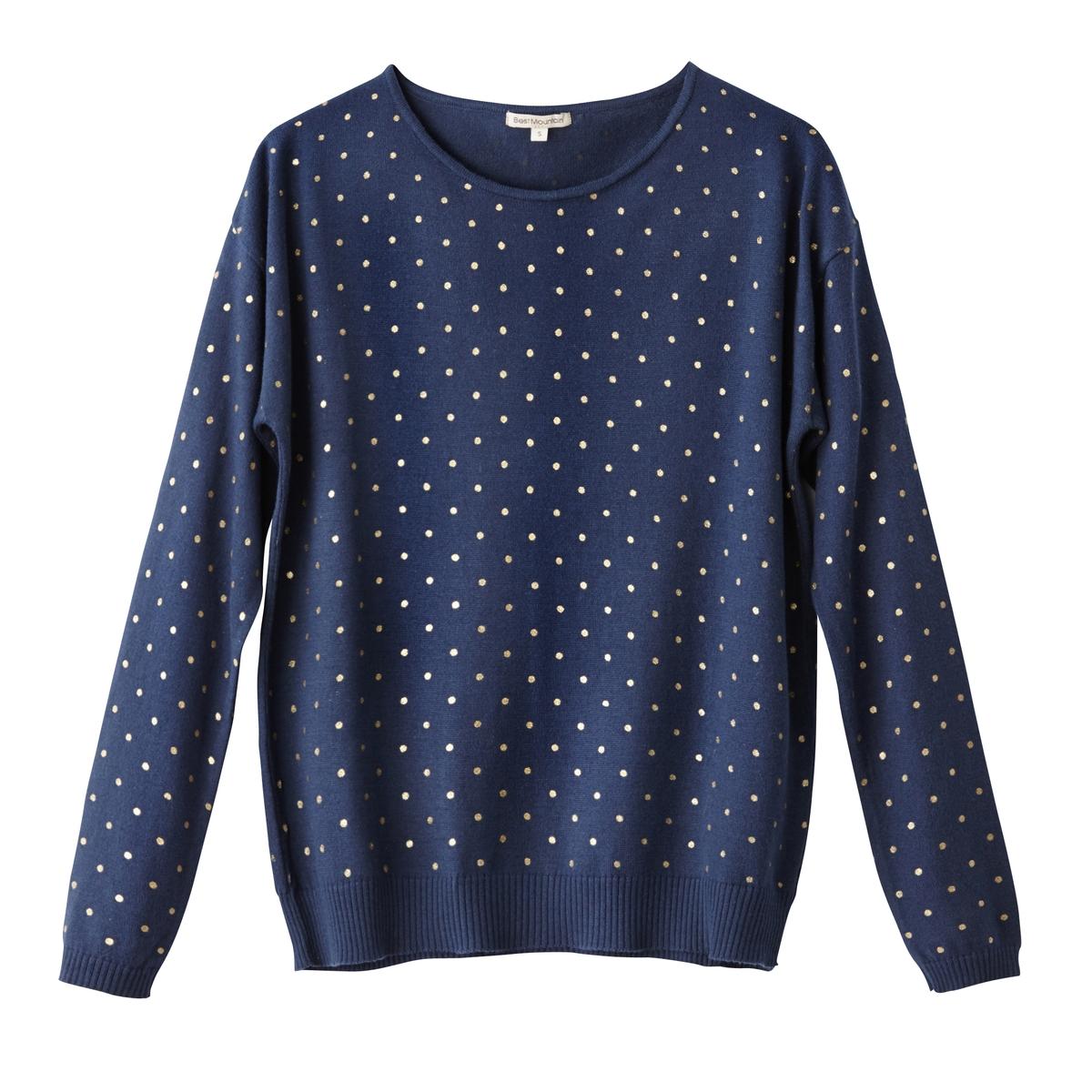 Пуловер в горошек, 100% хлопкаМатериал : 50% акрила, 50% хлопка        Длина рукава : длинные рукава        Форма воротника : Круглый вырез        Покрой пуловера : стандартная        Рисунок : однотонная модель         Особенность пуловера : волокна с металлическим блеском<br><br>Цвет: темно-синий<br>Размер: S