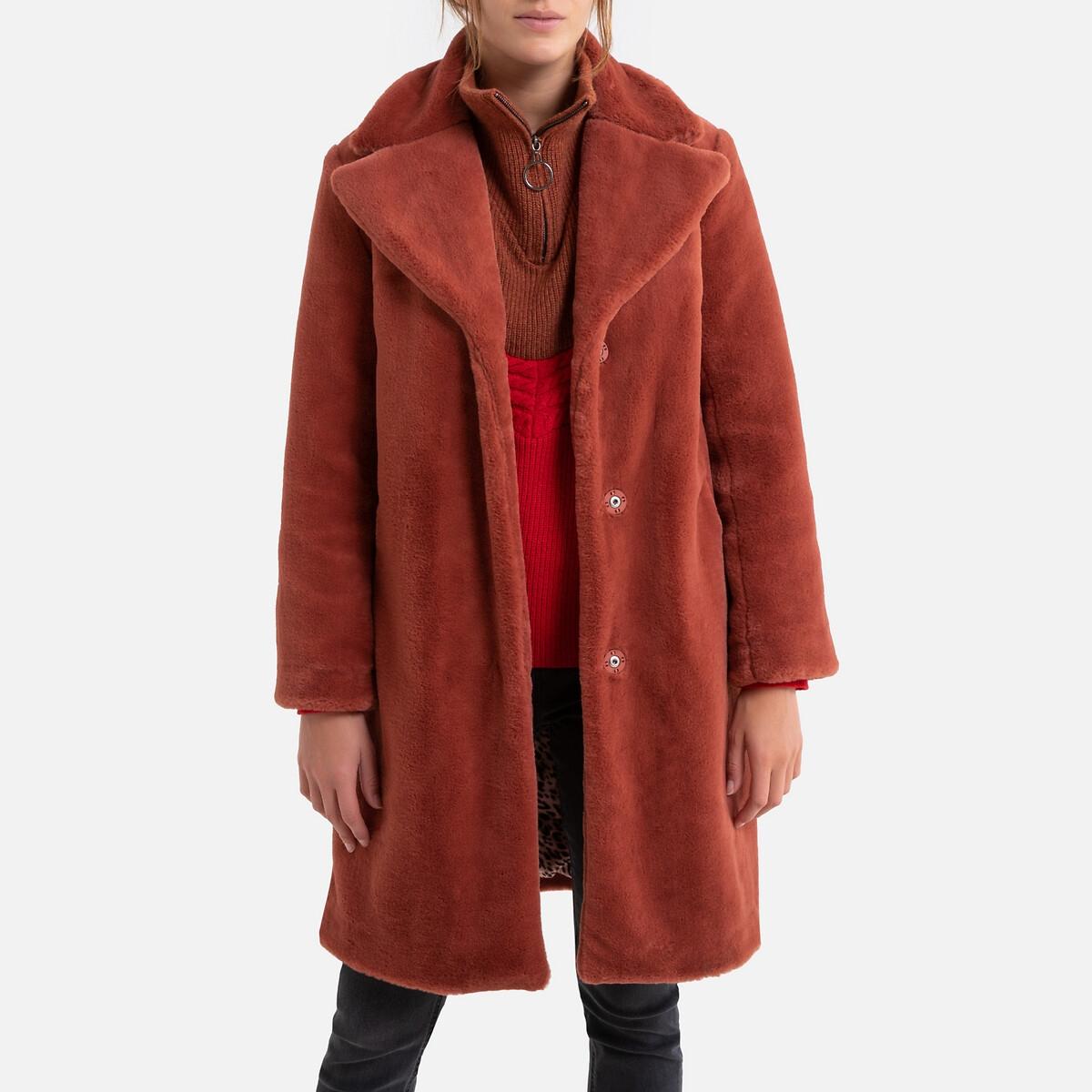 Пальто La Redoute Средней длины на кнопках 2(M) розовый платье прямое средней длины однотонное без рукавов