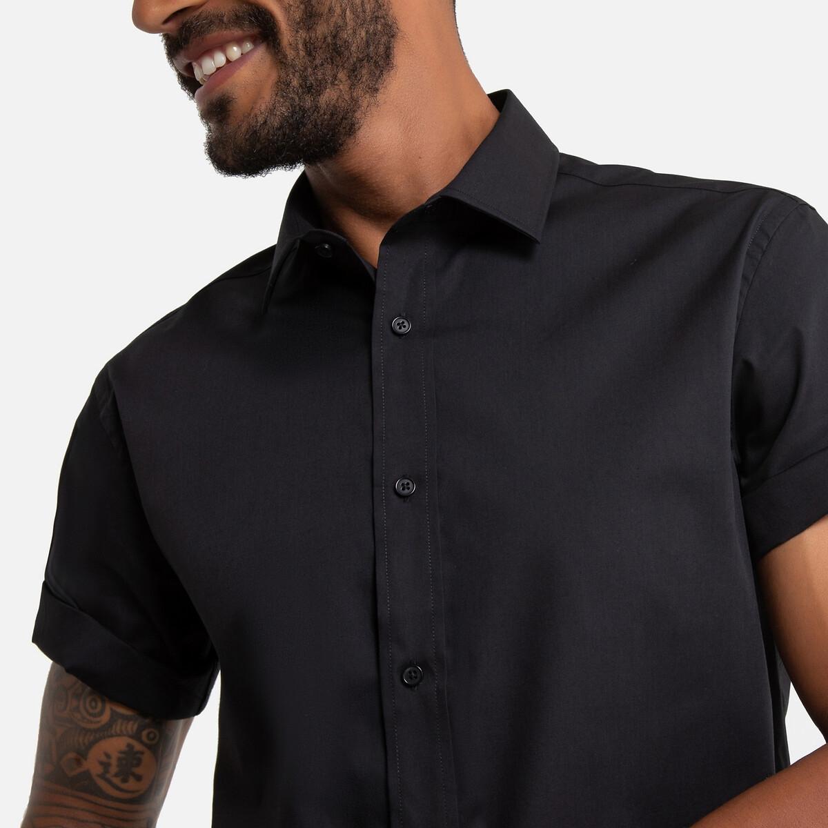 Фото - Рубашка LaRedoute Прямого покроя 39/40 черный юбка laredoute джинсовая прямого покроя xs синий