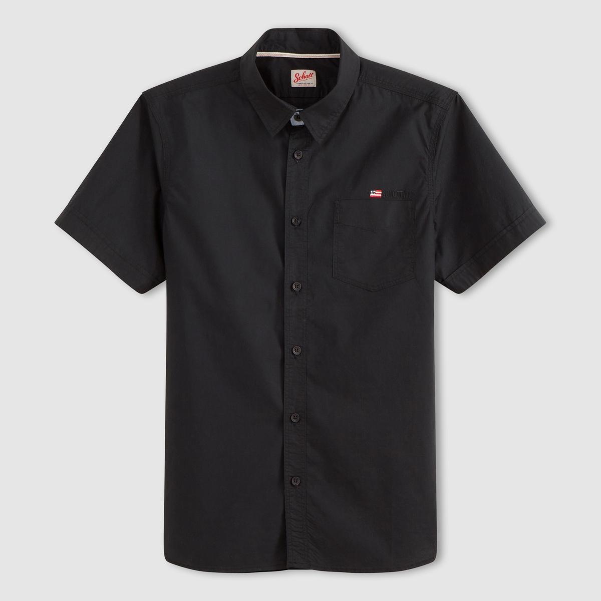 Рубашка с короткими рукавами STAMFORDРубашка с короткими рукавами STAMFORD - SCHOTT. Прямой покрой, классический воротник, застежка на пуговицы.  1 нагрудный карман. Низ рукавов с застежкой на пуговицы. Логотип нашит на кармане.Состав и описание :Материал : 100% хлопкаМарка : SCHOTT<br><br>Цвет: черный<br>Размер: M