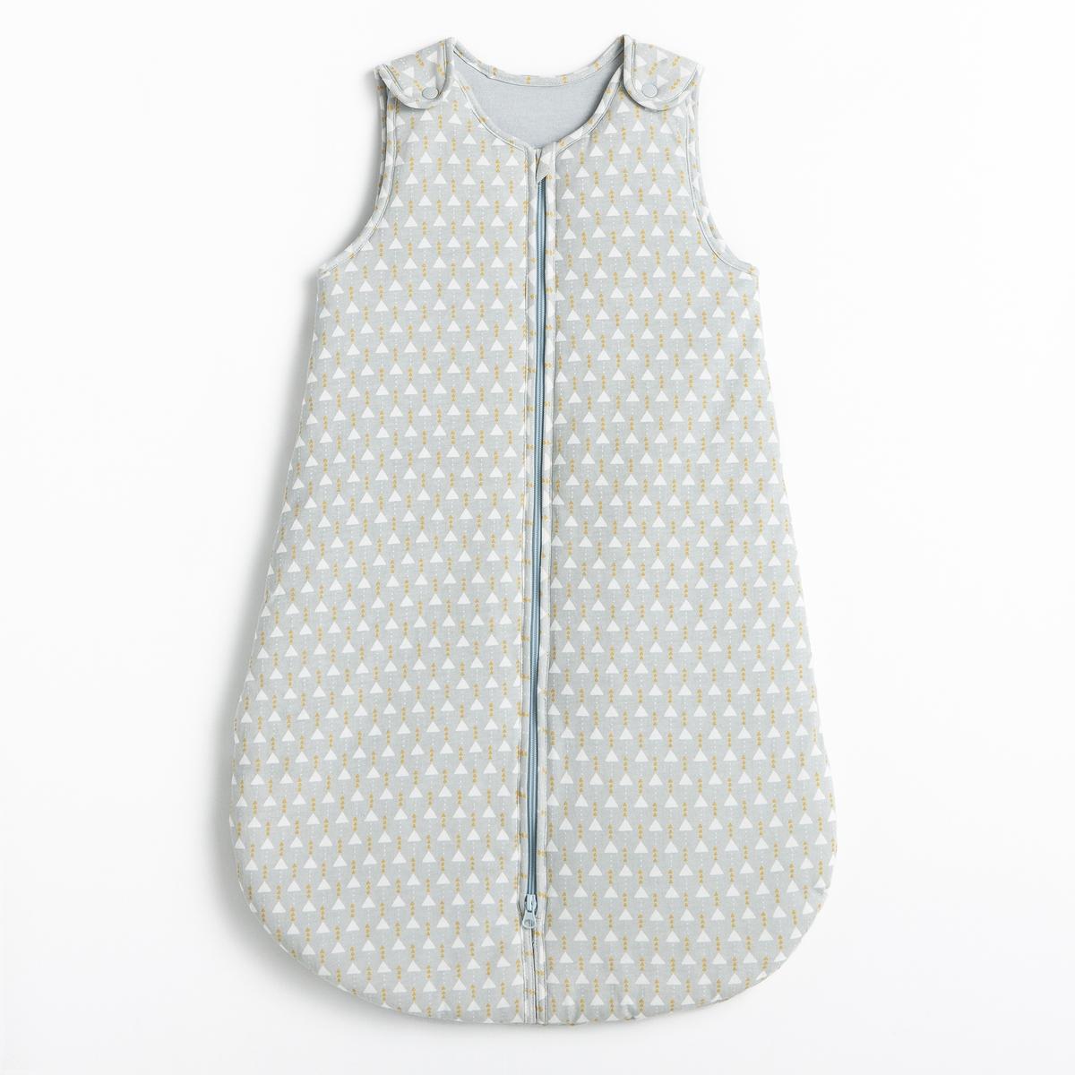 Конверт теплый для новорожденного с рисунком треугольник из хлопка