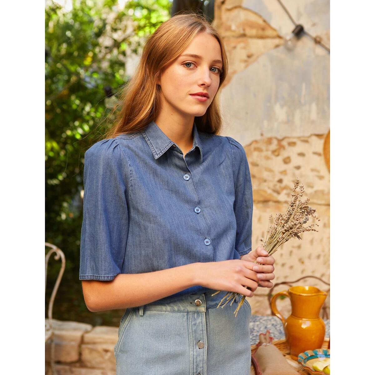 Рубашка La Redoute Джинсовая с короткими рукавами LEONOR S синий цена 2017