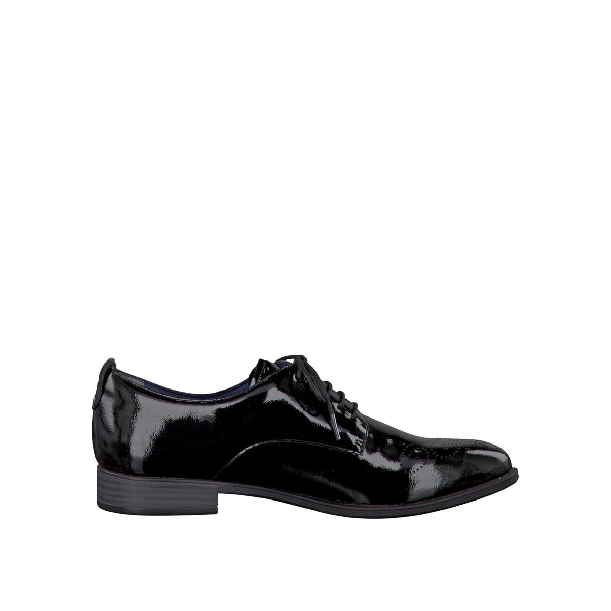 Ботинки-дерби лакированные 23201-28Верх/Голенище: синтетика.Подкладка: кожа и текстиль.Стелька: кожа.  Подошва: синтетика.Высота каблука: 2,5 см.  Форма каблука: плоский каблук.  Мысок: закругленный.Застежка: шнуровка.<br><br>Цвет: Черный лак<br>Размер: 39