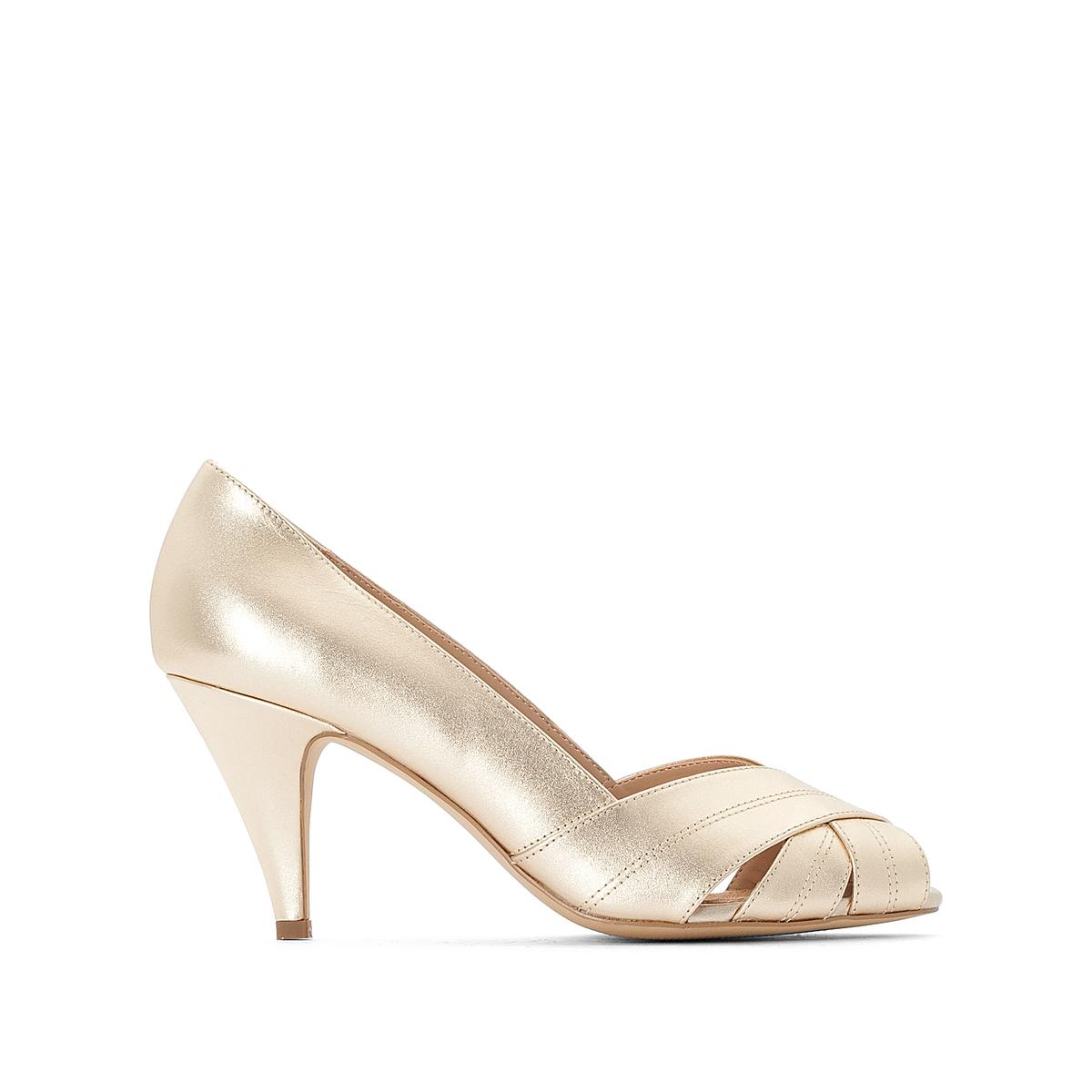 Туфли La Redoute С открытым мыском на каблуке 36 золотистый туфли la redoute кожаные с открытым мыском и деталями золотистого цвета 41 черный