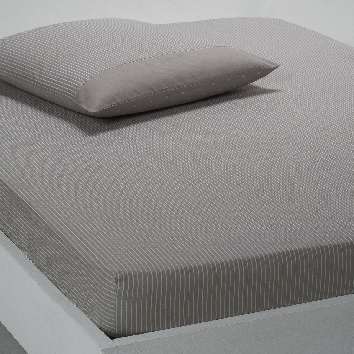 Натяжная простыня CassopiaАккуратные полоски придают интерьеру изысканность и утончённость. 100% хлопка, плотное переплетение нитей (57 нитей/см?). Обработка ткани soft finish делает её мягкой и приятной на ощупь. Стирка при 60°.   Размеры натяжной простыни:90 x 190 см: 1-сп. 140 x 190 см: 2-сп. 160 x 200 см: 2-сп.<br><br>Цвет: бежевый