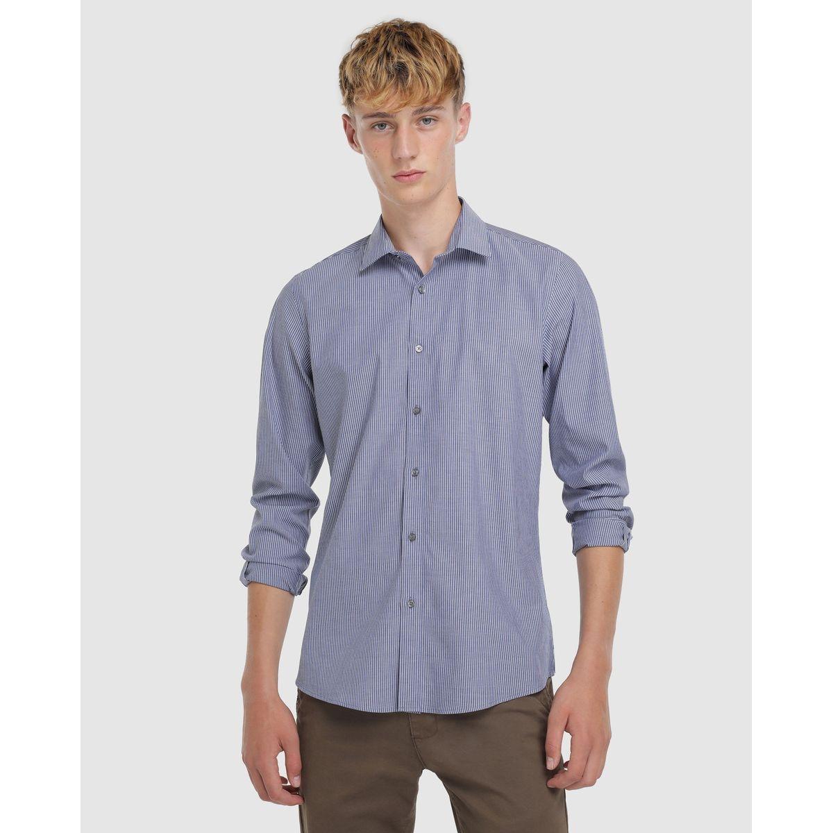 Chemise skinny habillée repassage facile  à rayures