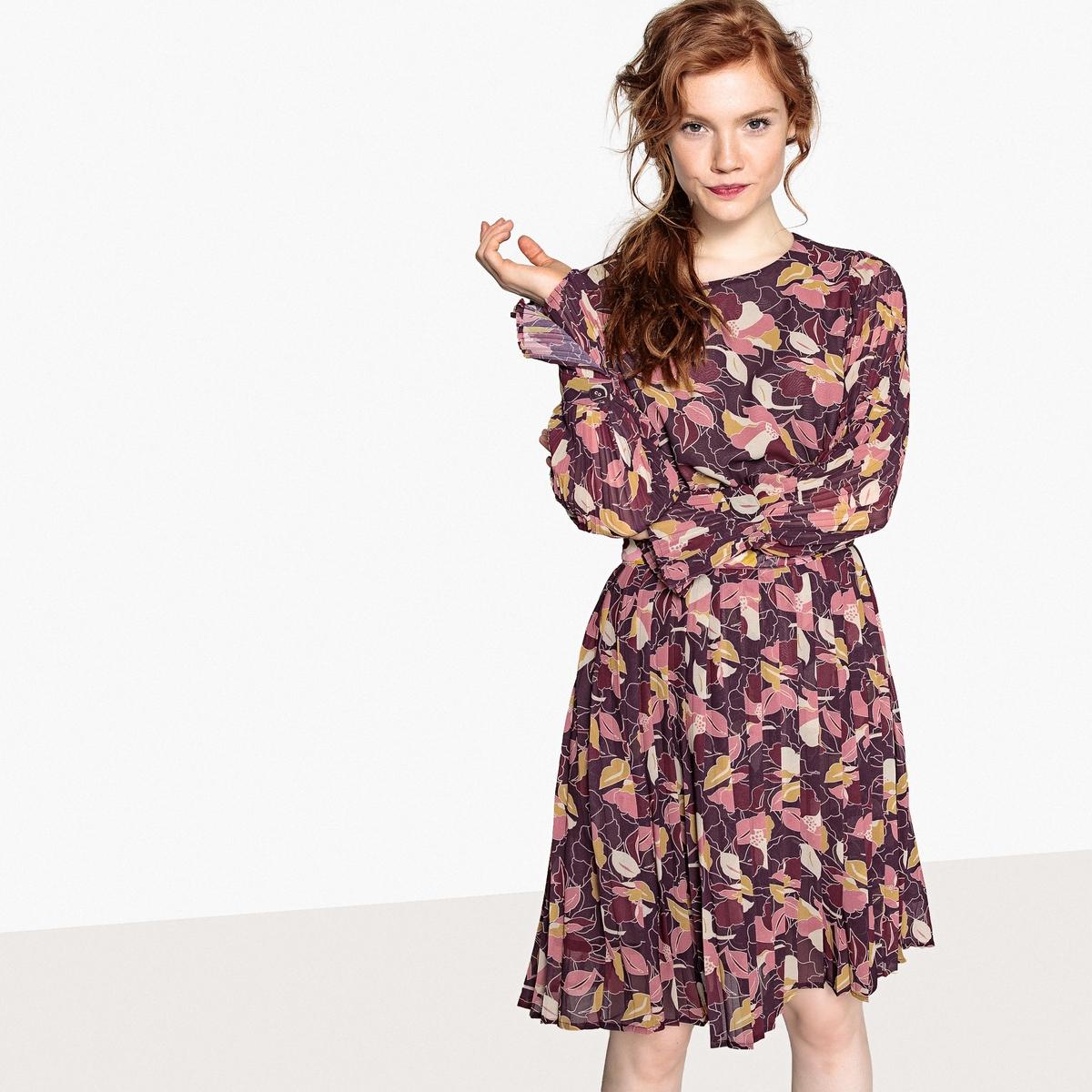 Платье La Redoute С цветочным рисунком и эластичным поясом 34 (FR) - 40 (RUS) разноцветный платье la redoute длинное с цветочным рисунком и напускным эффектом 34 fr 40 rus черный
