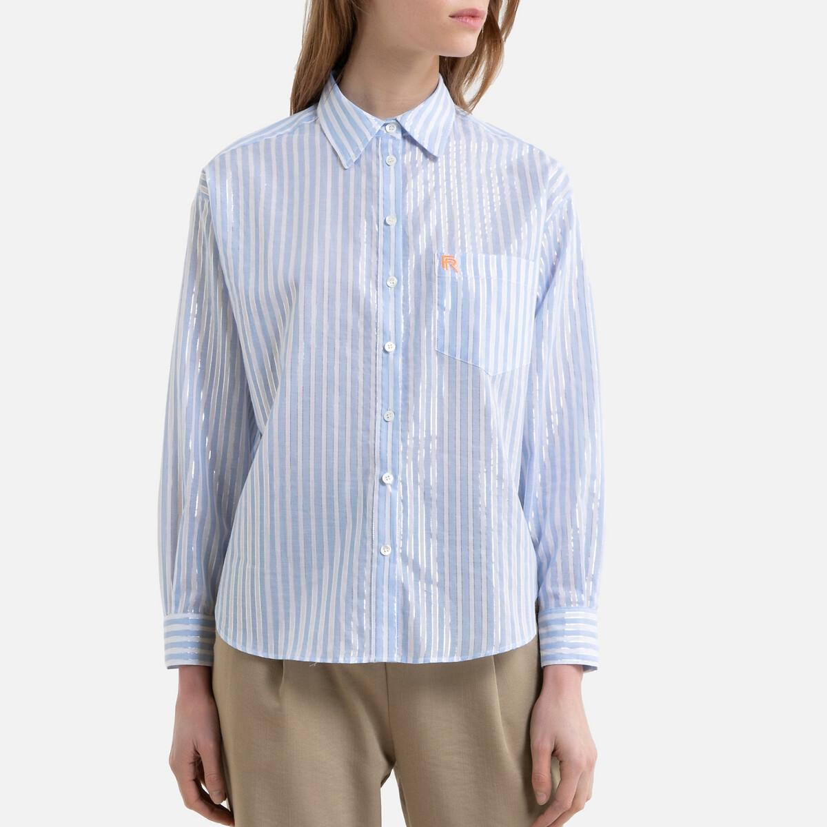 Рубашка La Redoute В полоску с длинными рукавами CAMELLIA M/L синий цена 2017