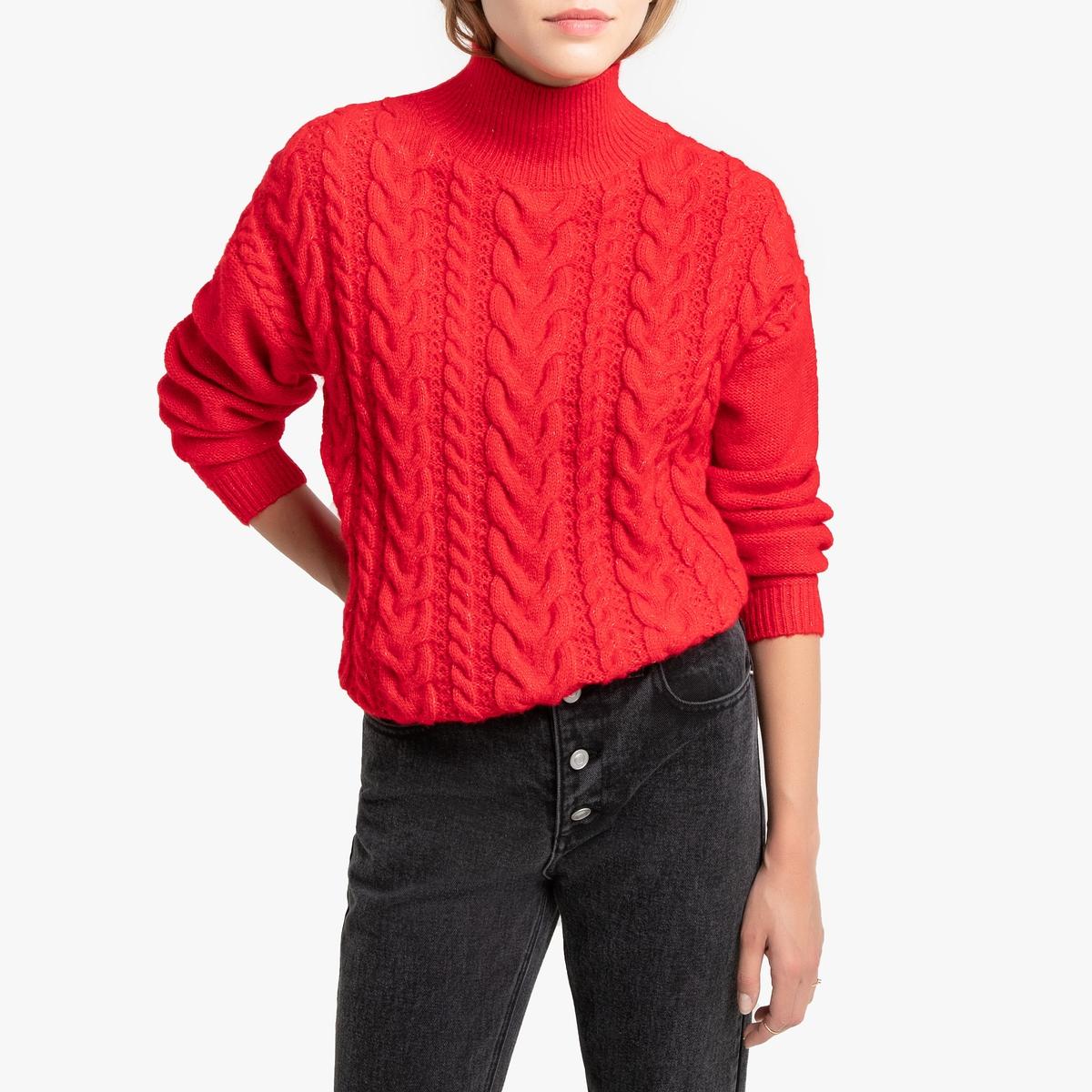Пуловер La Redoute С воротником-стойкой из трикотажа с узором косы S красный