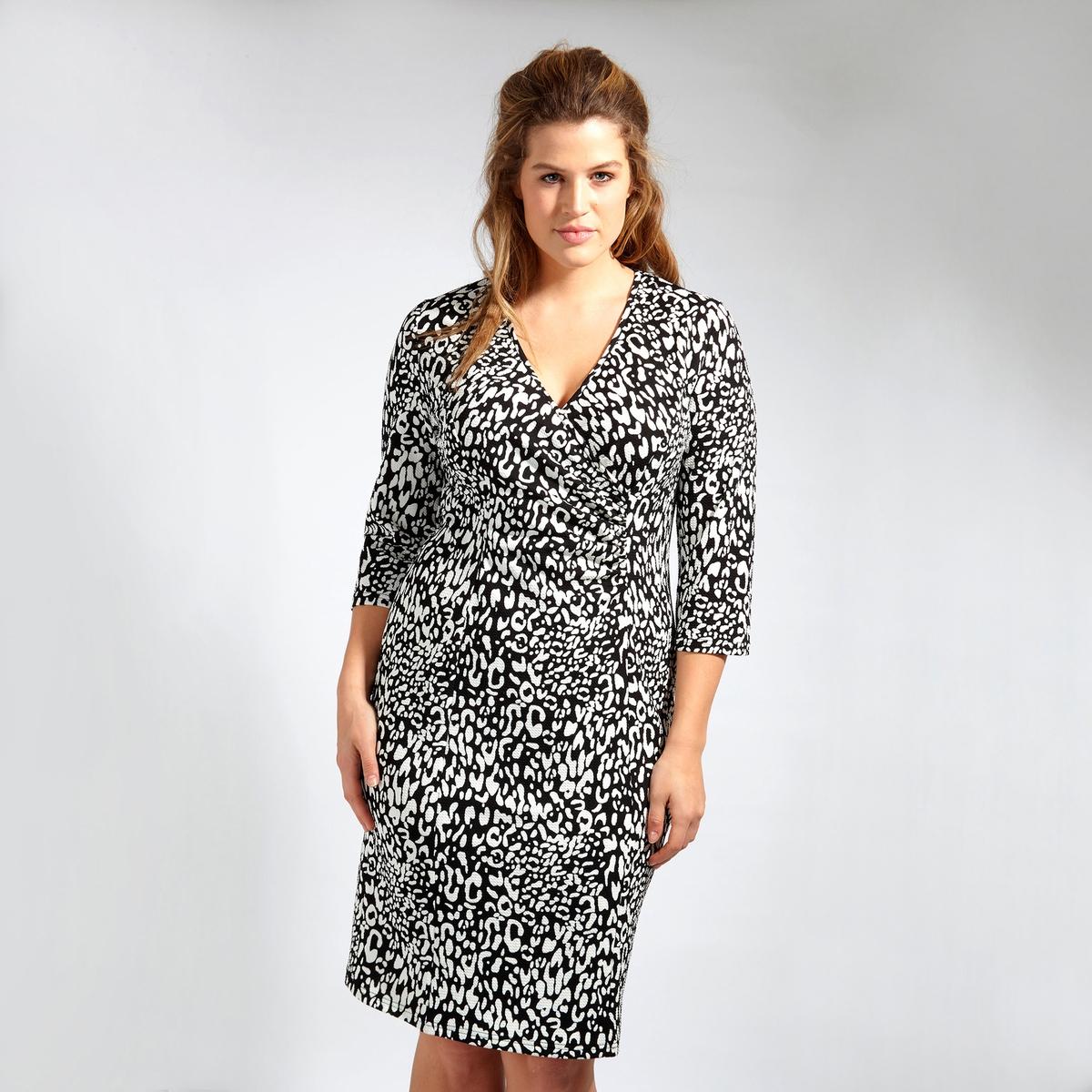 ПлатьеПлатье LOVEDROBE. Платье с рукавами 3/4 с красивым декольте. 100% полиэстер<br><br>Цвет: набивной рисунок<br>Размер: 58/60 (FR) - 64/66 (RUS).54/56 (FR) - 60/62 (RUS).48 (FR) - 54 (RUS)