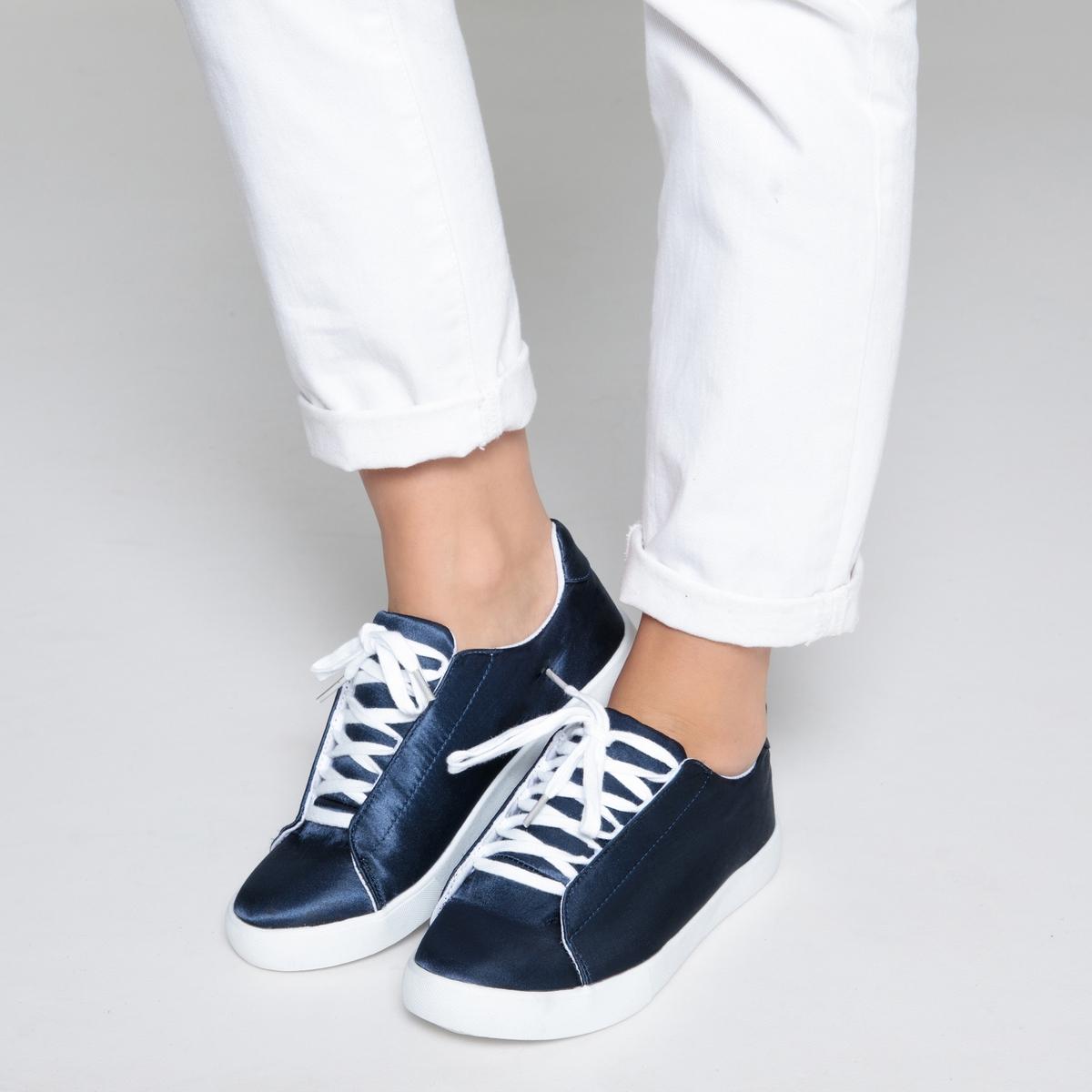 Кеды с сатиновым эффектомДетали  •  Спортивный стиль •  Плоский каблук •  Высота каблука : 0 см •  Застежка : шнуровка •  Гладкая отделкаСостав и уход  •  Верх 100% текстиль •  Подкладка 100% текстиль •  Стелька 100% текстиль •  Подошва 100% эластомер<br><br>Цвет: синий,темно-зеленый<br>Размер: 41.40.39.38.37.36.42.41.40.39.38.37.36