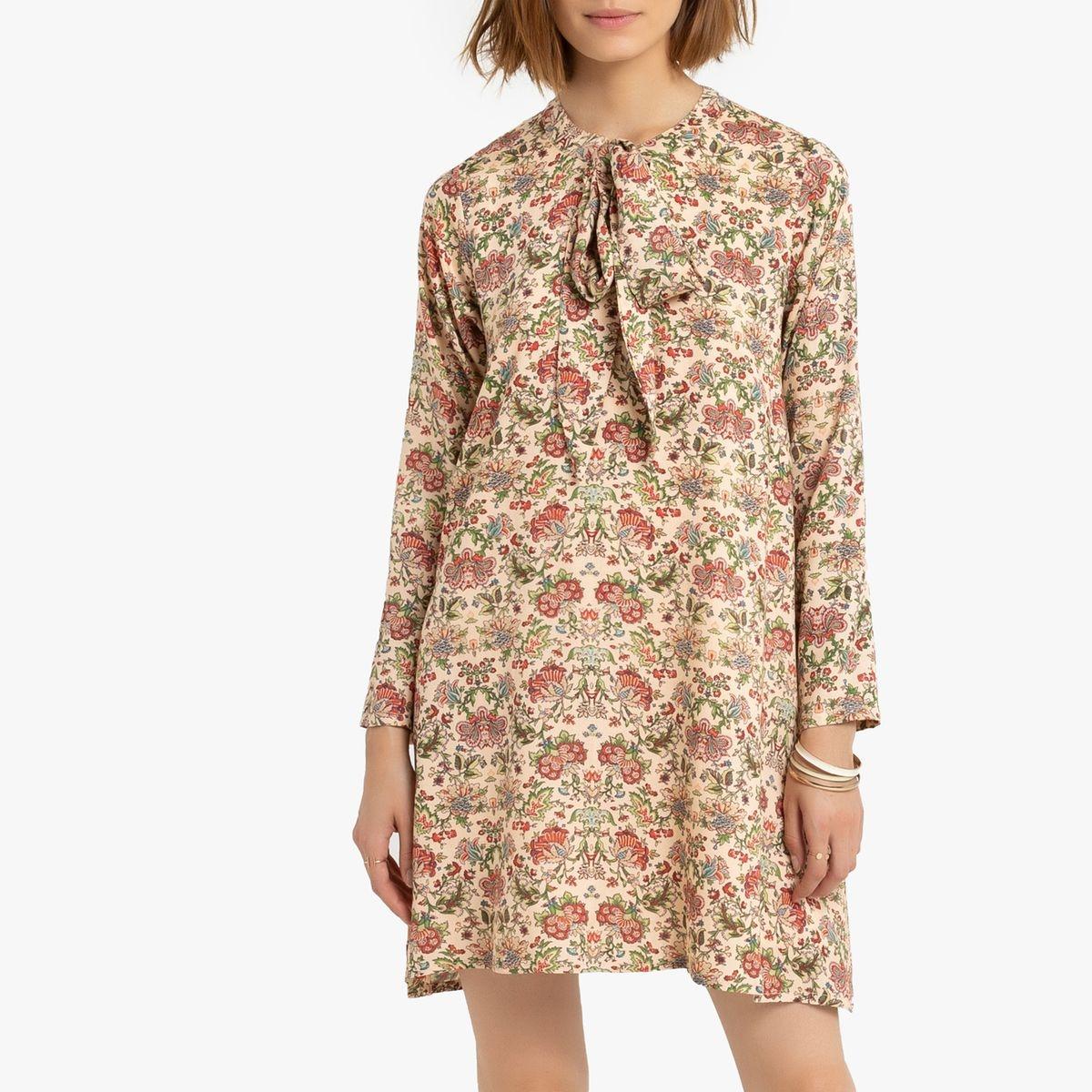 Robe courte fleurie ample col lavallière