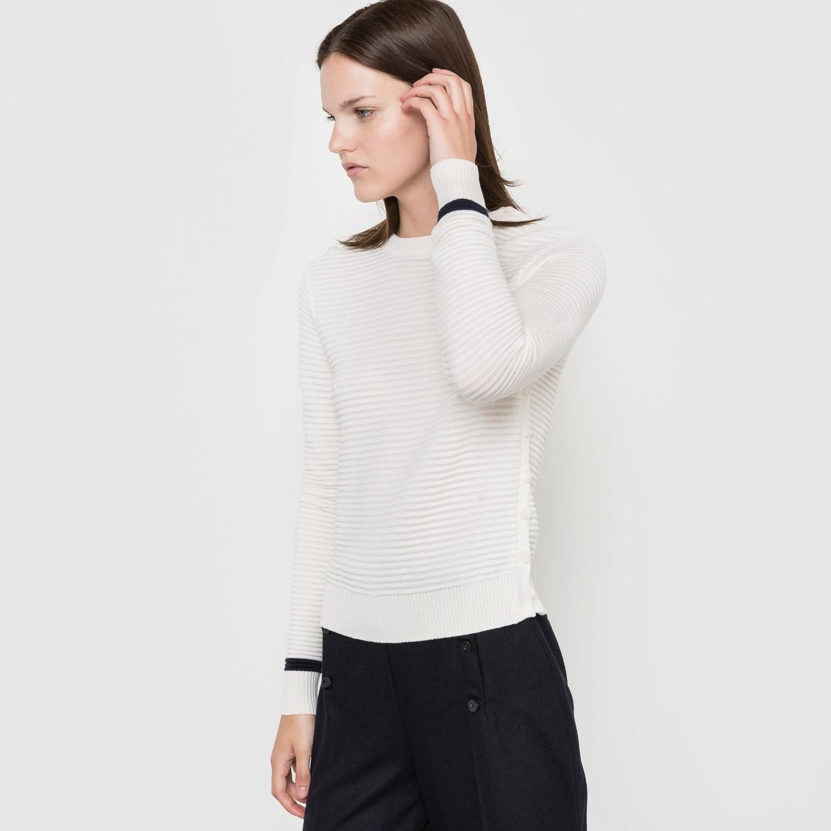 Пуловер с круглым вырезом, 100% шерсти мериносаПуловер с круглым вырезом и застежкой на 3 пуговицы на плечах. Длинные рукава. Пуговицы по бокам.  Состав и описаниеМатериал: 100% шерсти мериноса.Длина 52 см.Марка: CORALIE MARABELLE  УходРучная стирка - Гладить на низкой температуре - Не отбеливать - Машинная сушка запрещена.<br><br>Цвет: красный/ кирпичный<br>Размер: 42/44 (FR) - 48/50 (RUS)