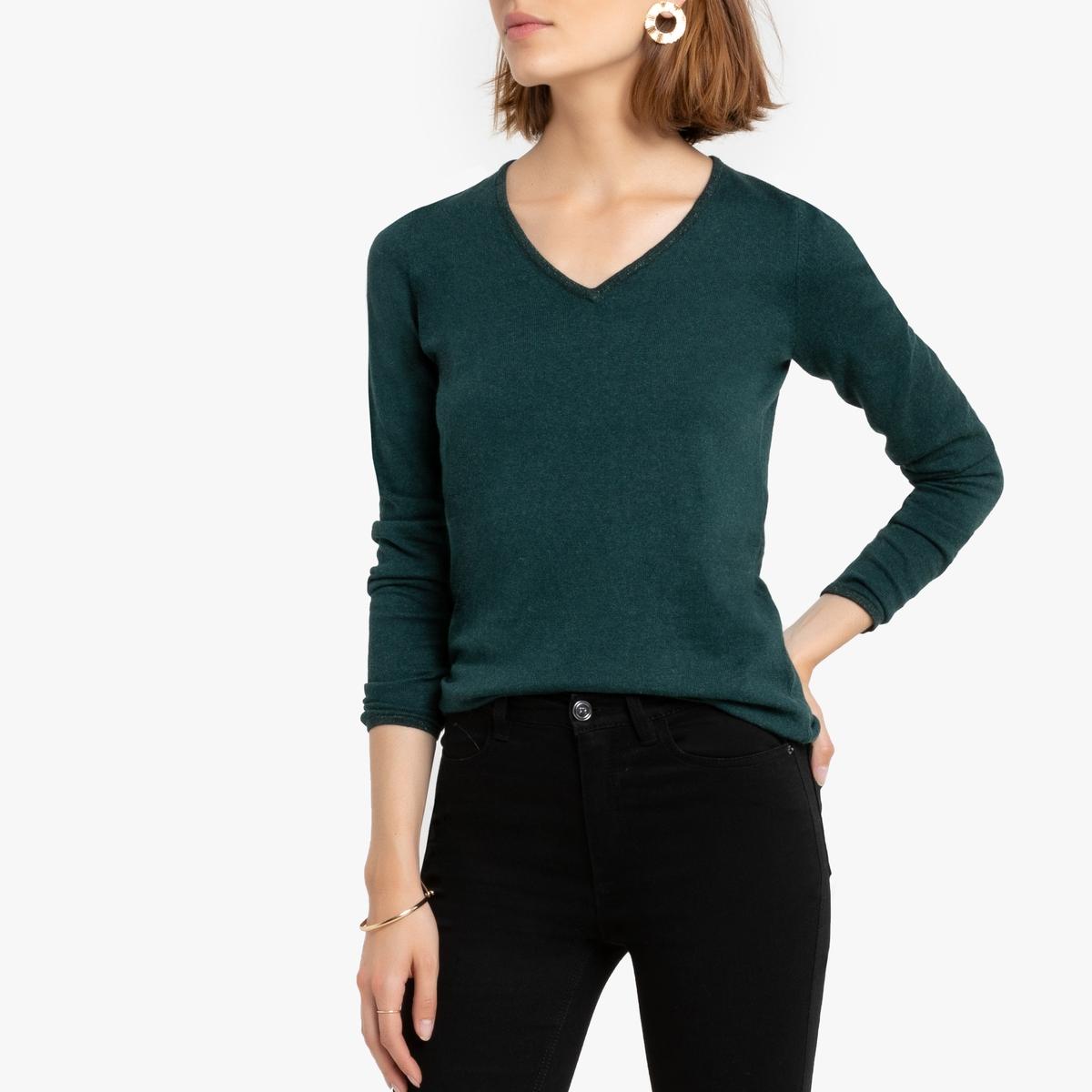 Пуловер La Redoute Кашемировый V-образный вырез логотип FREEMAN сзади XS зеленый