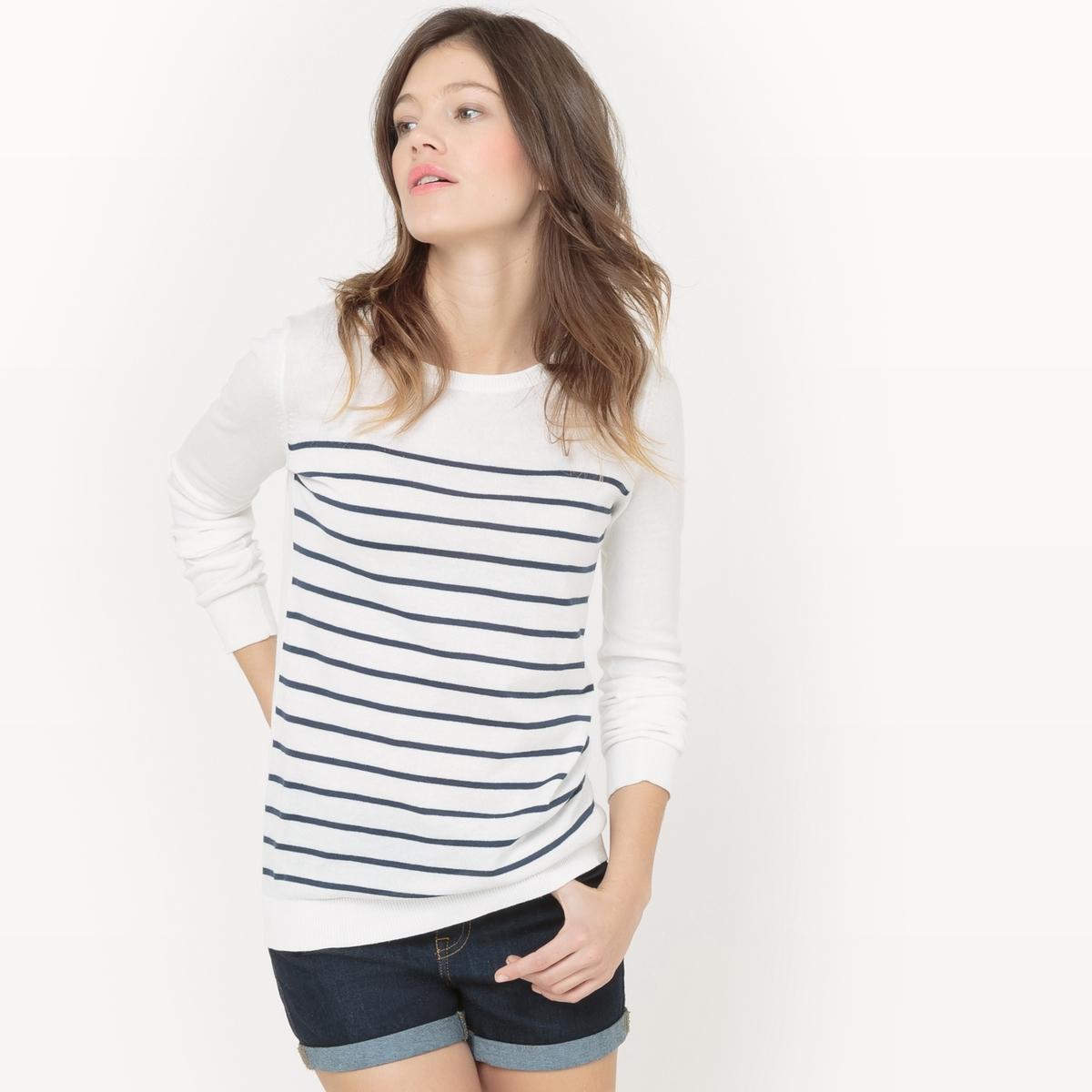 Пуловер с круглым вырезом из хлопка пуловер с круглым вырезом из хлопка и льна