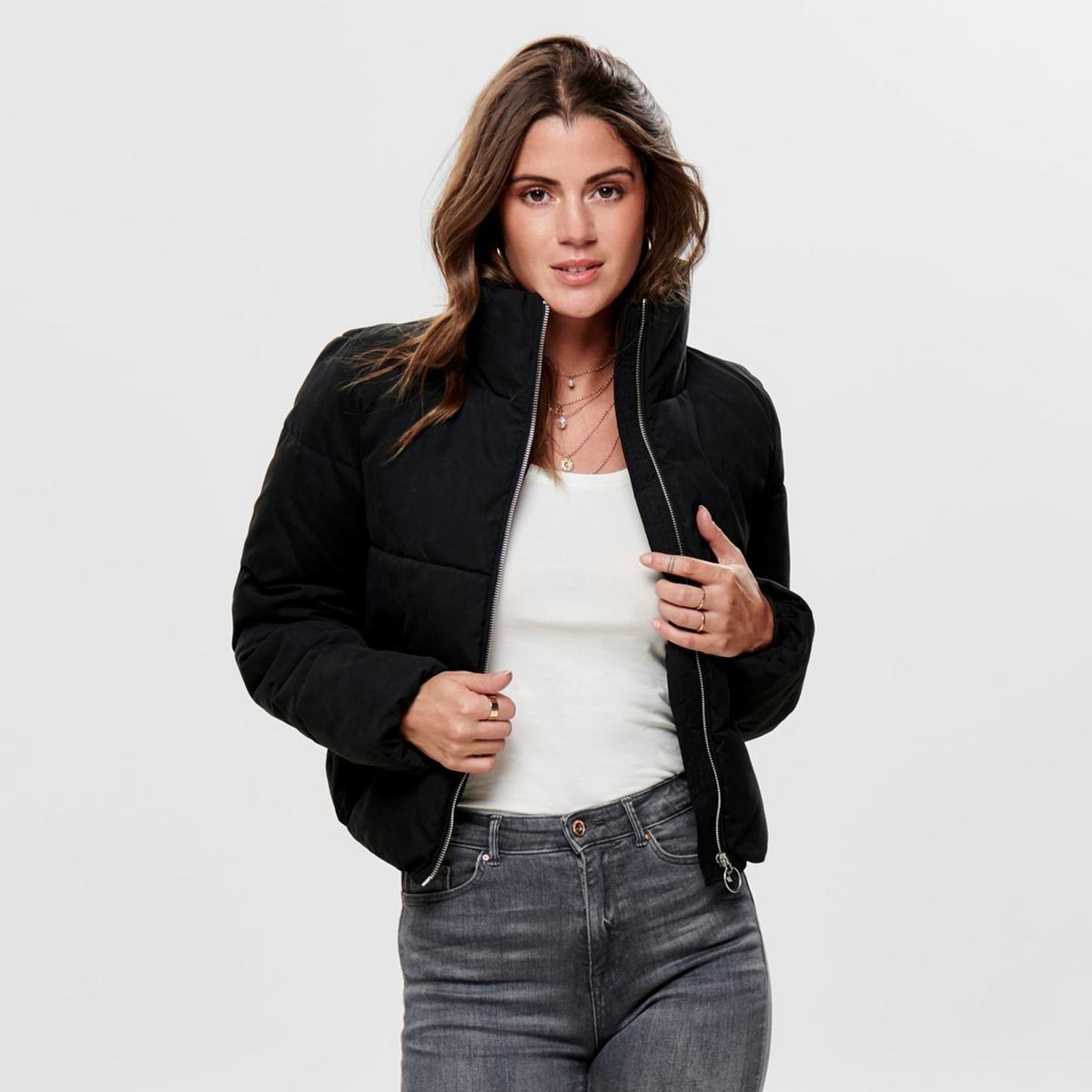 цена Куртка La Redoute Стеганая короткая на молнии с воротником-стойкой XL черный онлайн в 2017 году